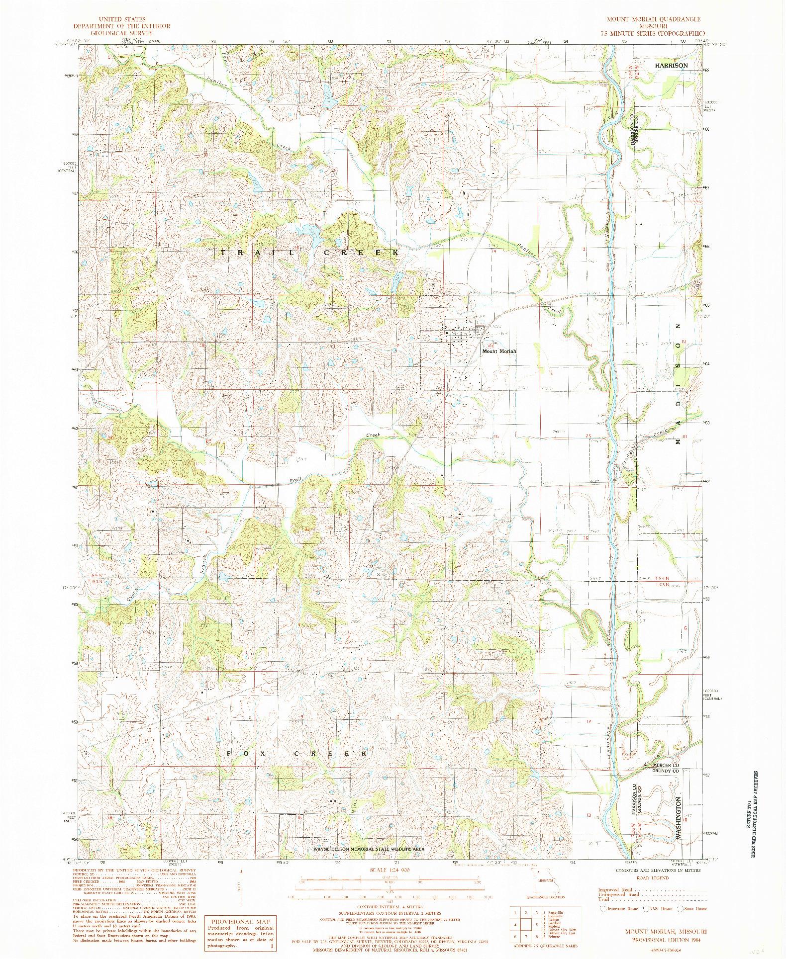 USGS 1:24000-SCALE QUADRANGLE FOR MOUNT MORIAH, MO 1984