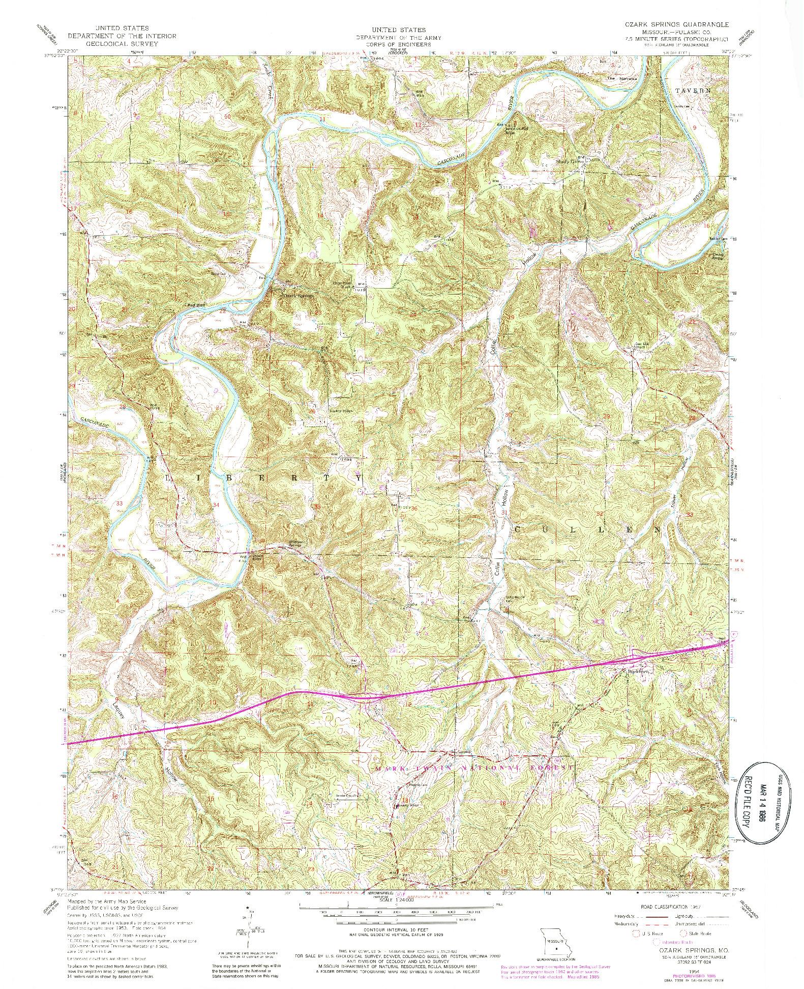 USGS 1:24000-SCALE QUADRANGLE FOR OZARK SPRINGS, MO 1954