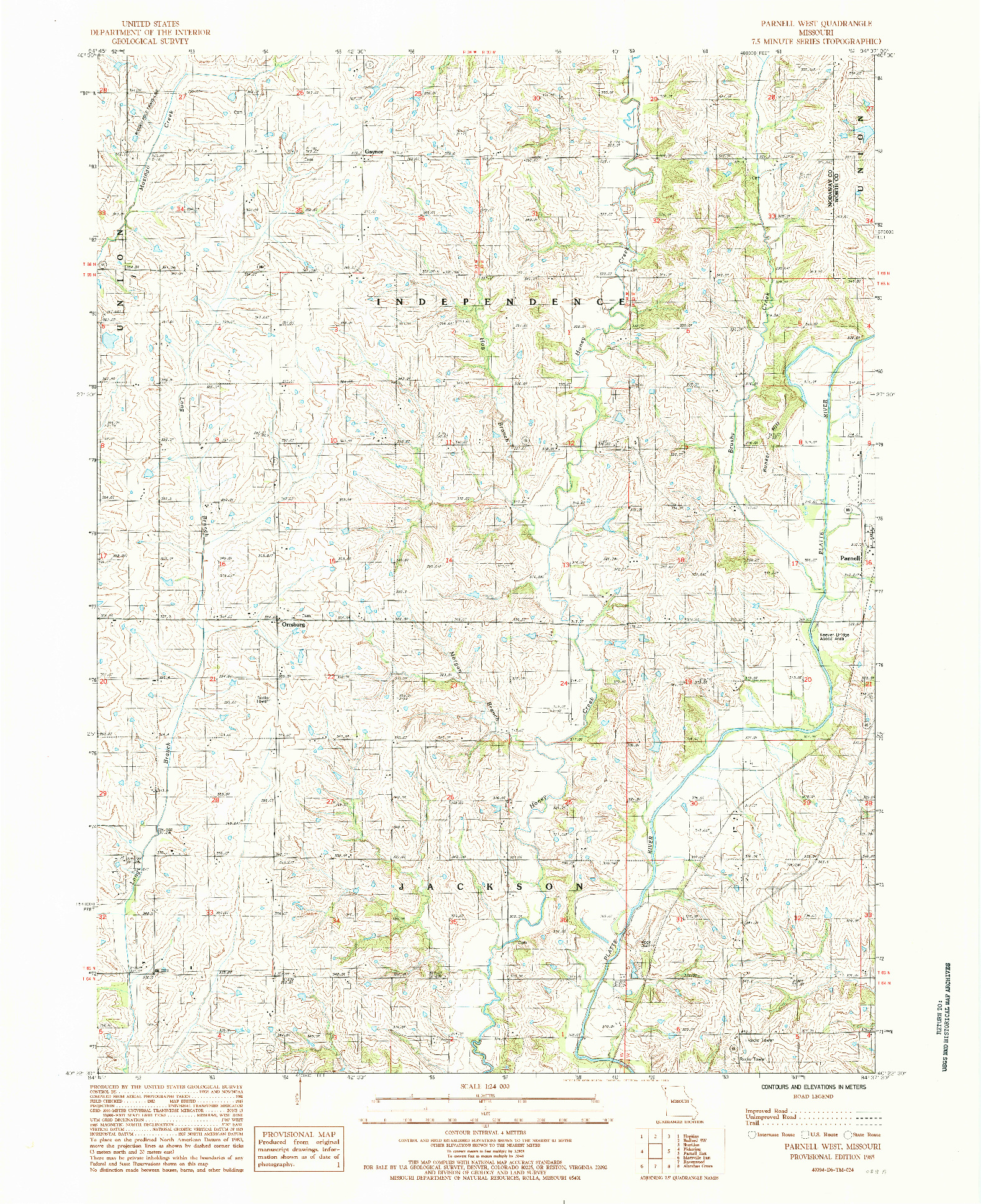 USGS 1:24000-SCALE QUADRANGLE FOR PARNELL WEST, MO 1985