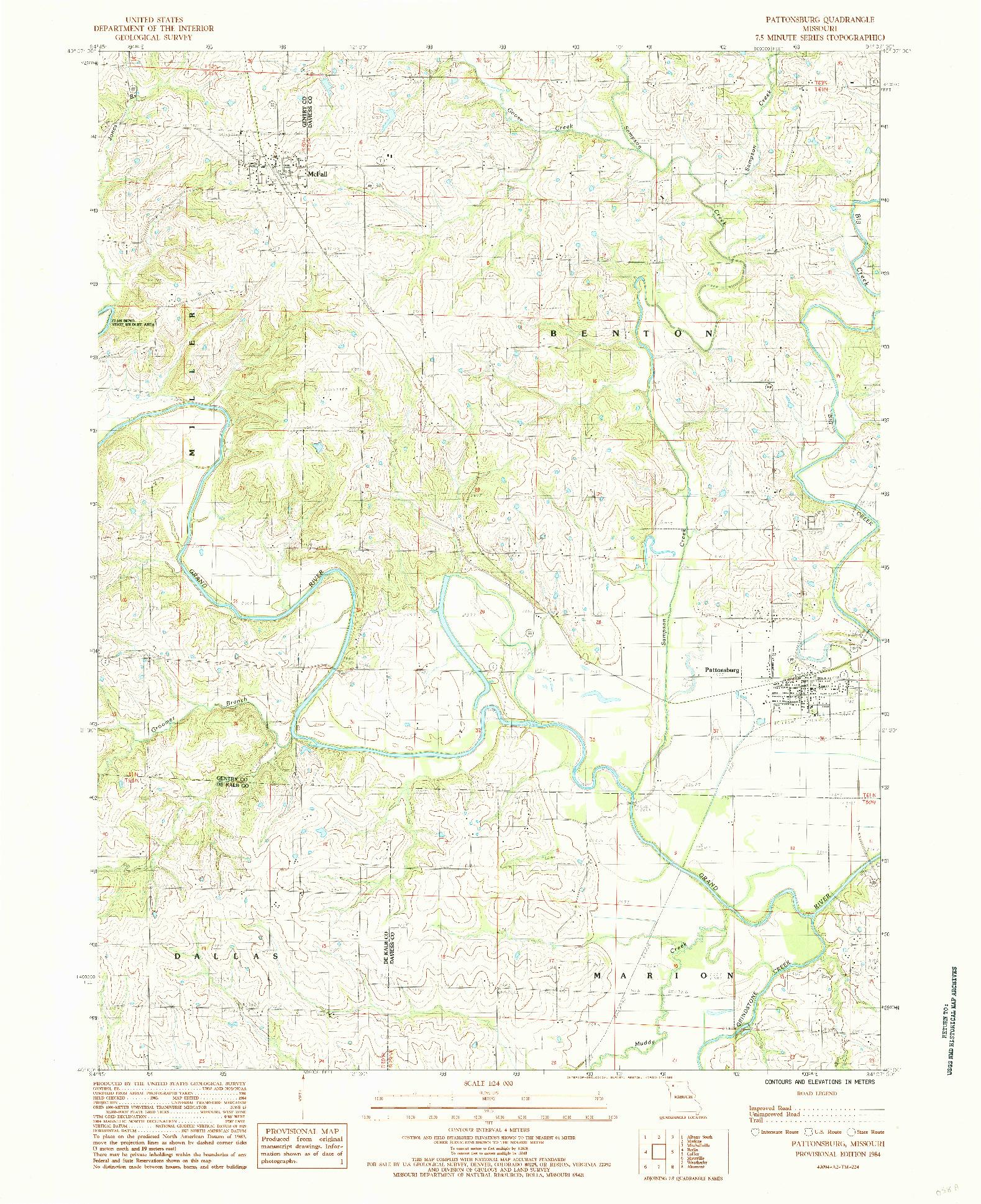 USGS 1:24000-SCALE QUADRANGLE FOR PATTONSBURG, MO 1984