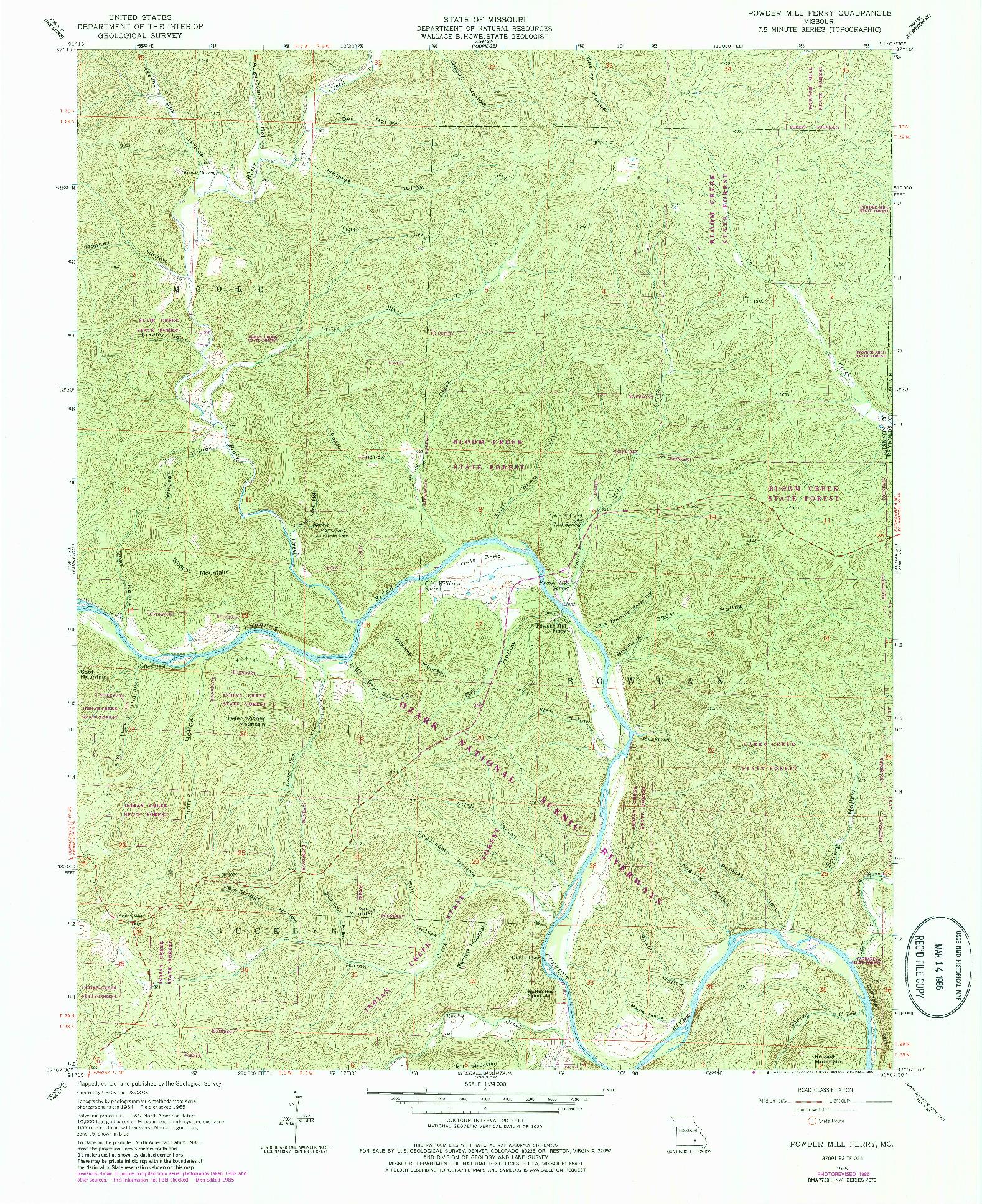 USGS 1:24000-SCALE QUADRANGLE FOR POWDER MILL FERRY, MO 1965