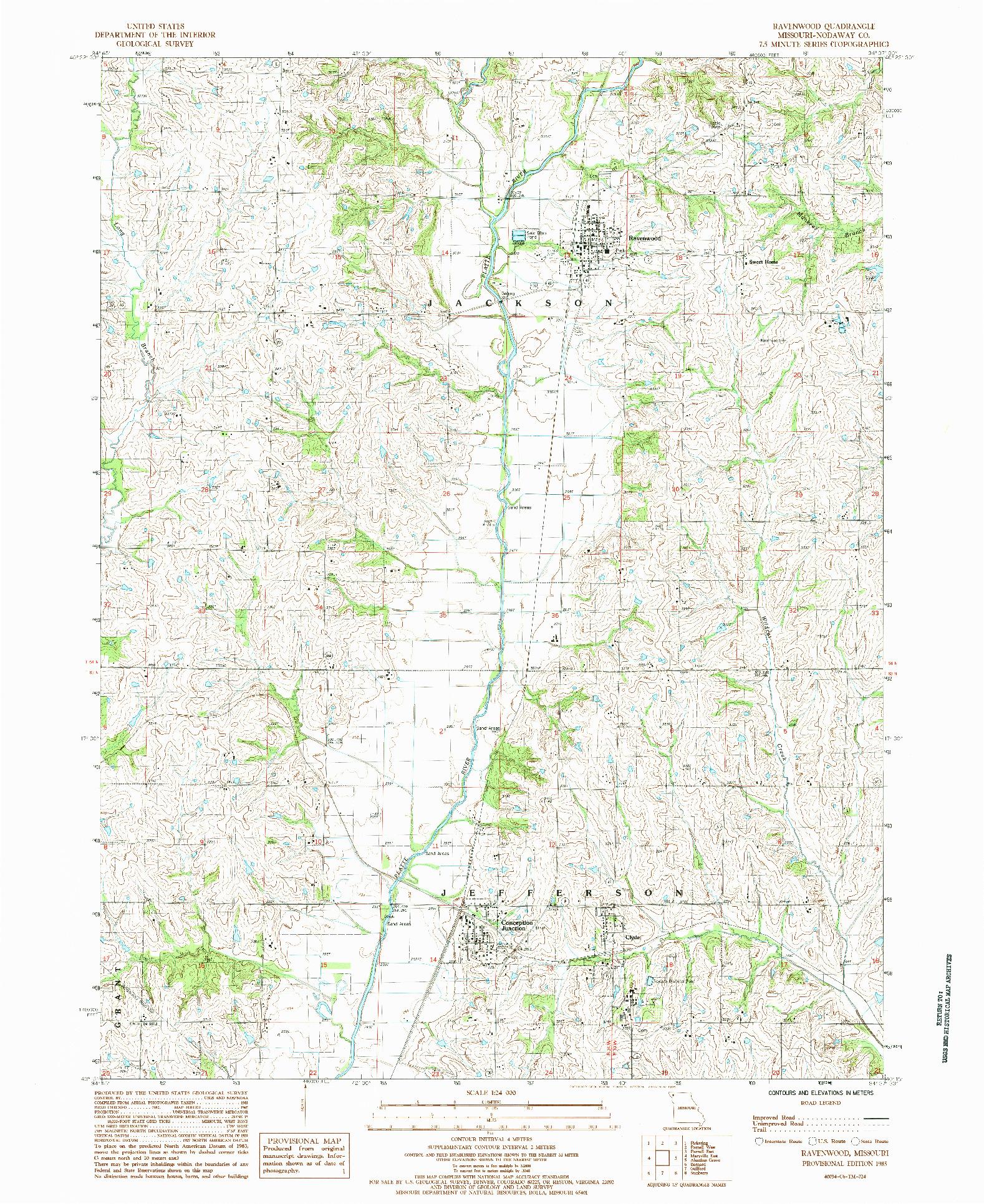 USGS 1:24000-SCALE QUADRANGLE FOR RAVENWOOD, MO 1985