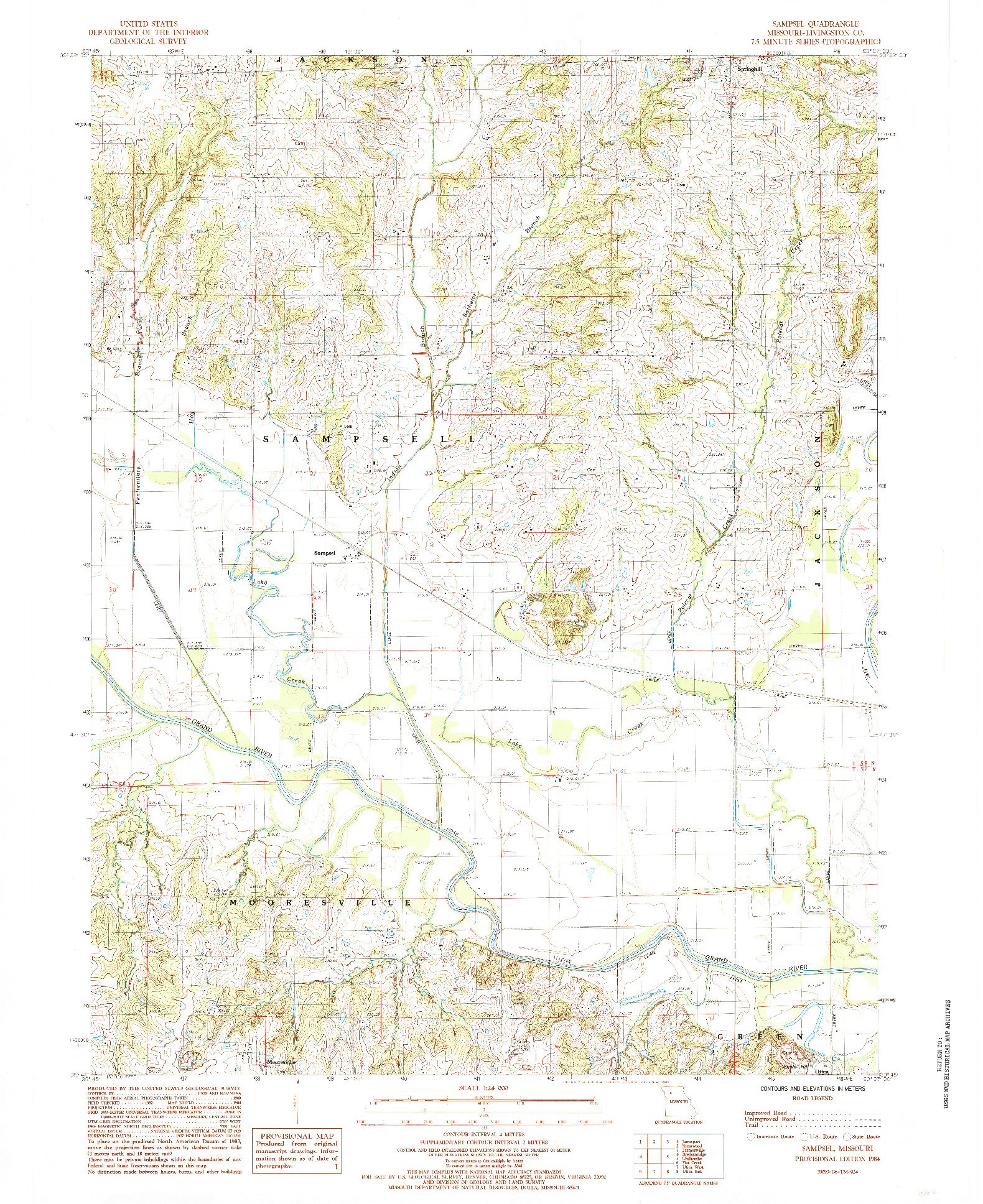 USGS 1:24000-SCALE QUADRANGLE FOR SAMPSEL, MO 1984