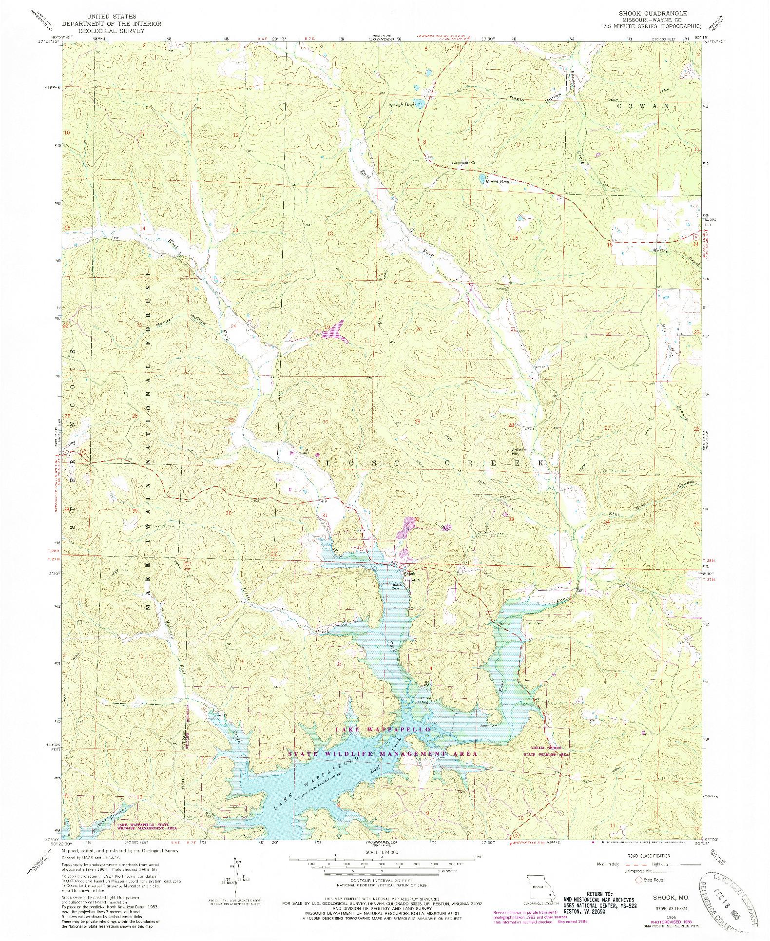 USGS 1:24000-SCALE QUADRANGLE FOR SHOOK, MO 1966