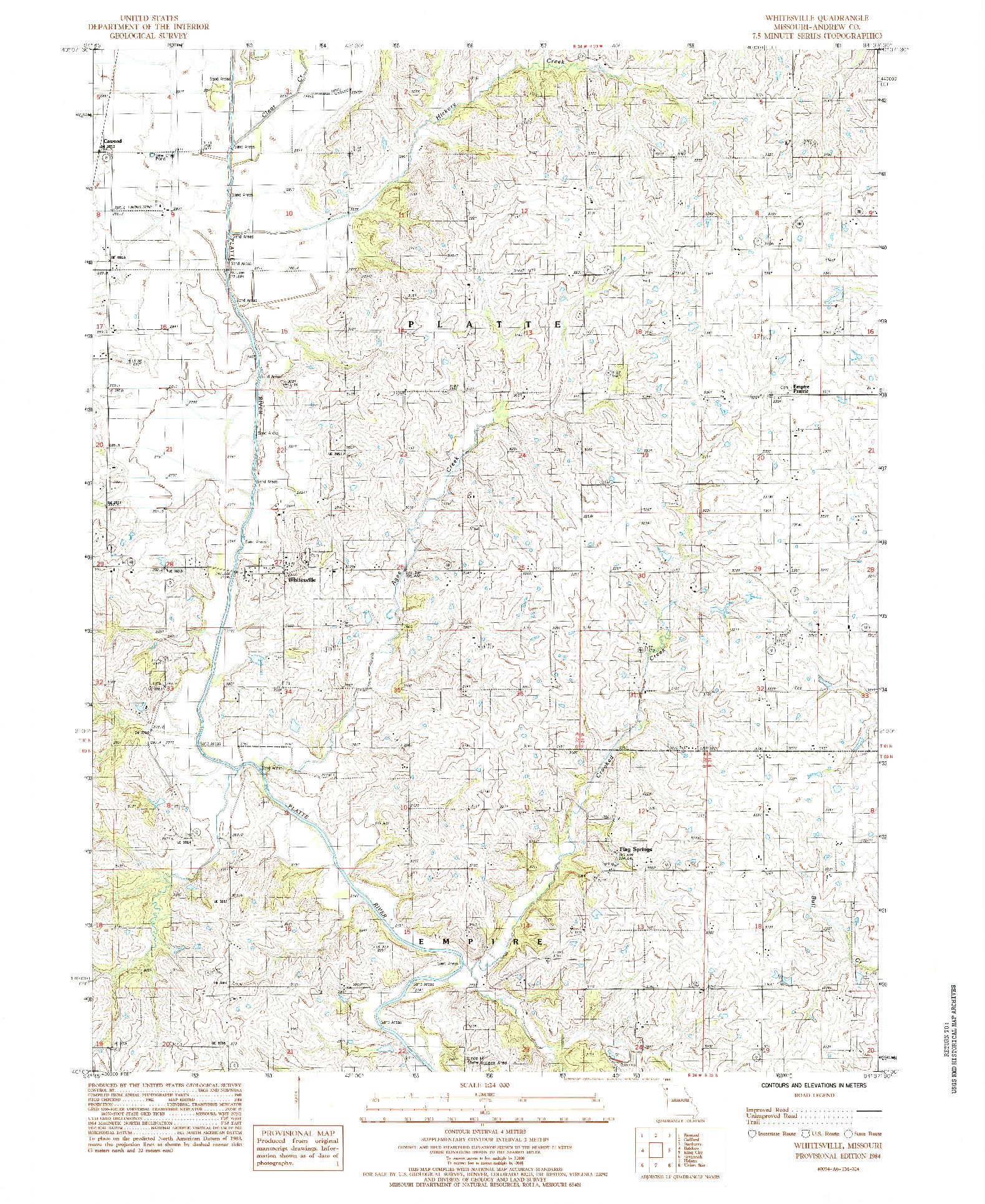 USGS 1:24000-SCALE QUADRANGLE FOR WHITESVILLE, MO 1984