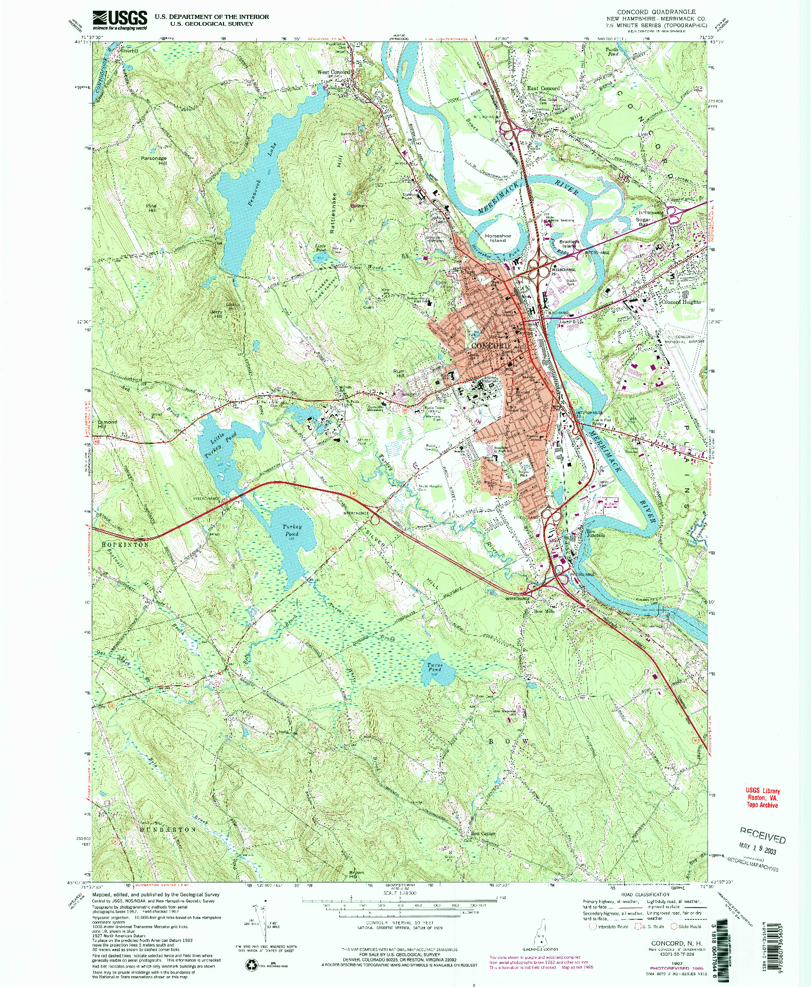 USGS 1:24000-SCALE QUADRANGLE FOR CONCORD, NH 1967