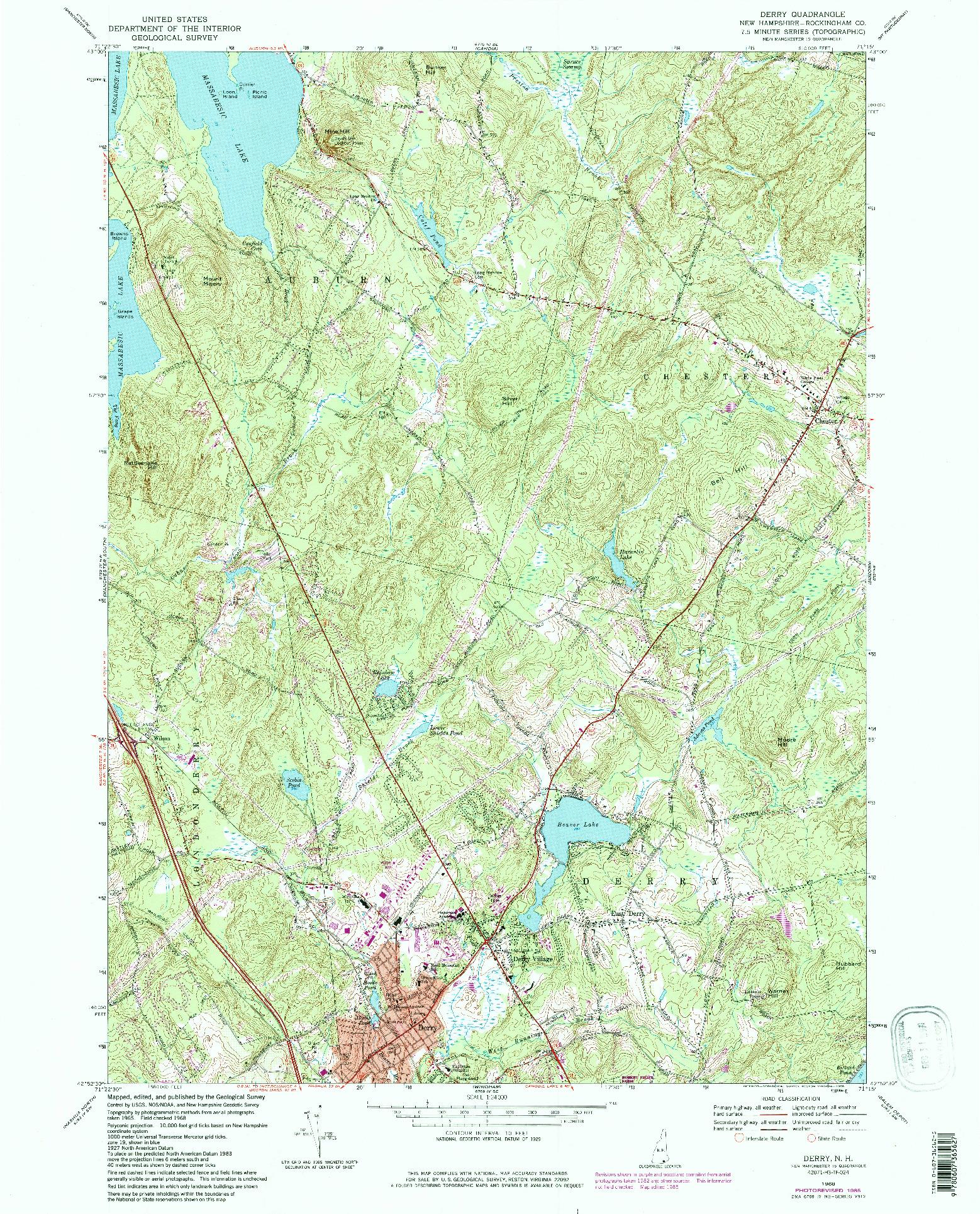 USGS 1:24000-SCALE QUADRANGLE FOR DERRY, NH 1968