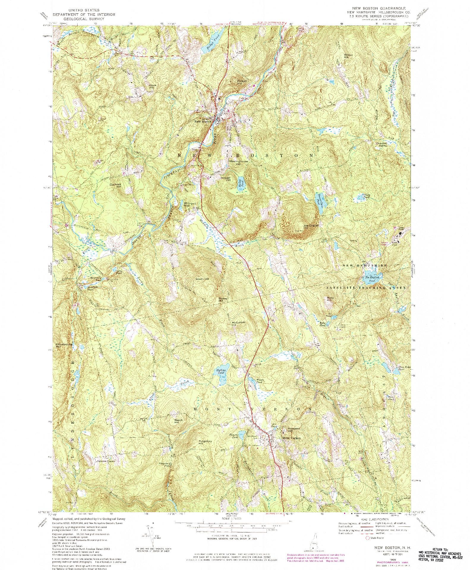USGS 1:24000-SCALE QUADRANGLE FOR NEW BOSTON, NH 1968