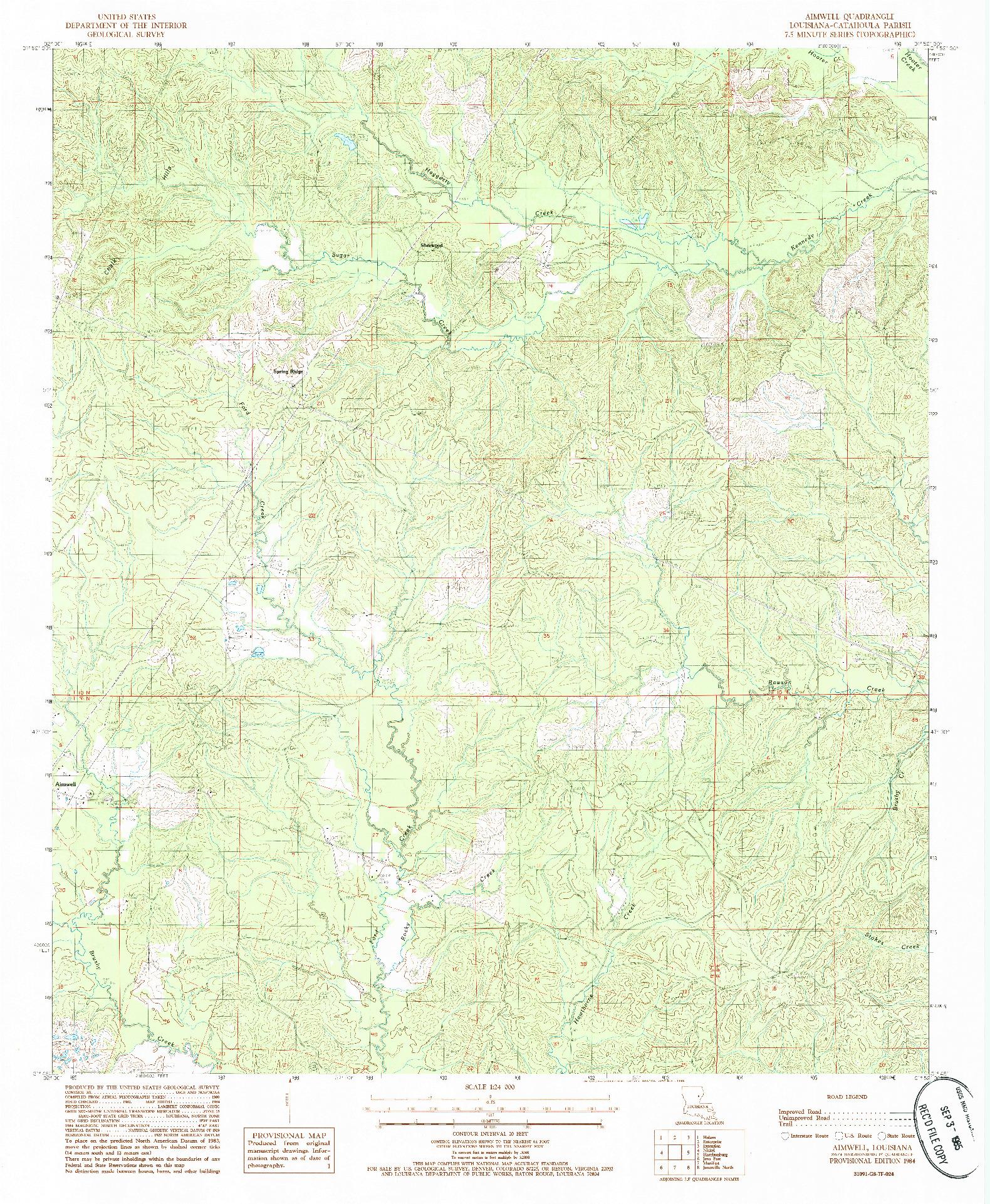 USGS 1:24000-SCALE QUADRANGLE FOR AIMWELL, LA 1984