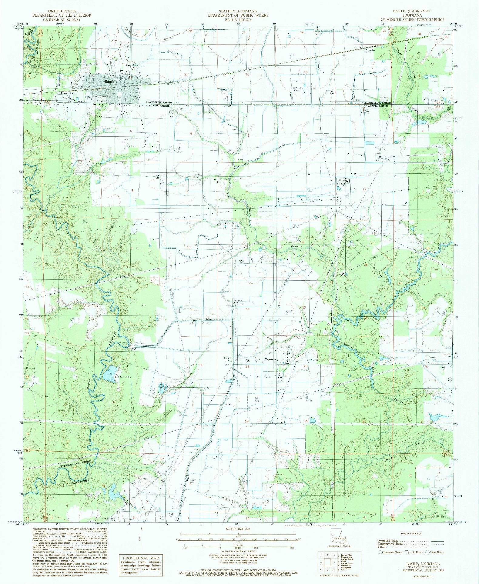 USGS 1:24000-SCALE QUADRANGLE FOR BASILE, LA 1985