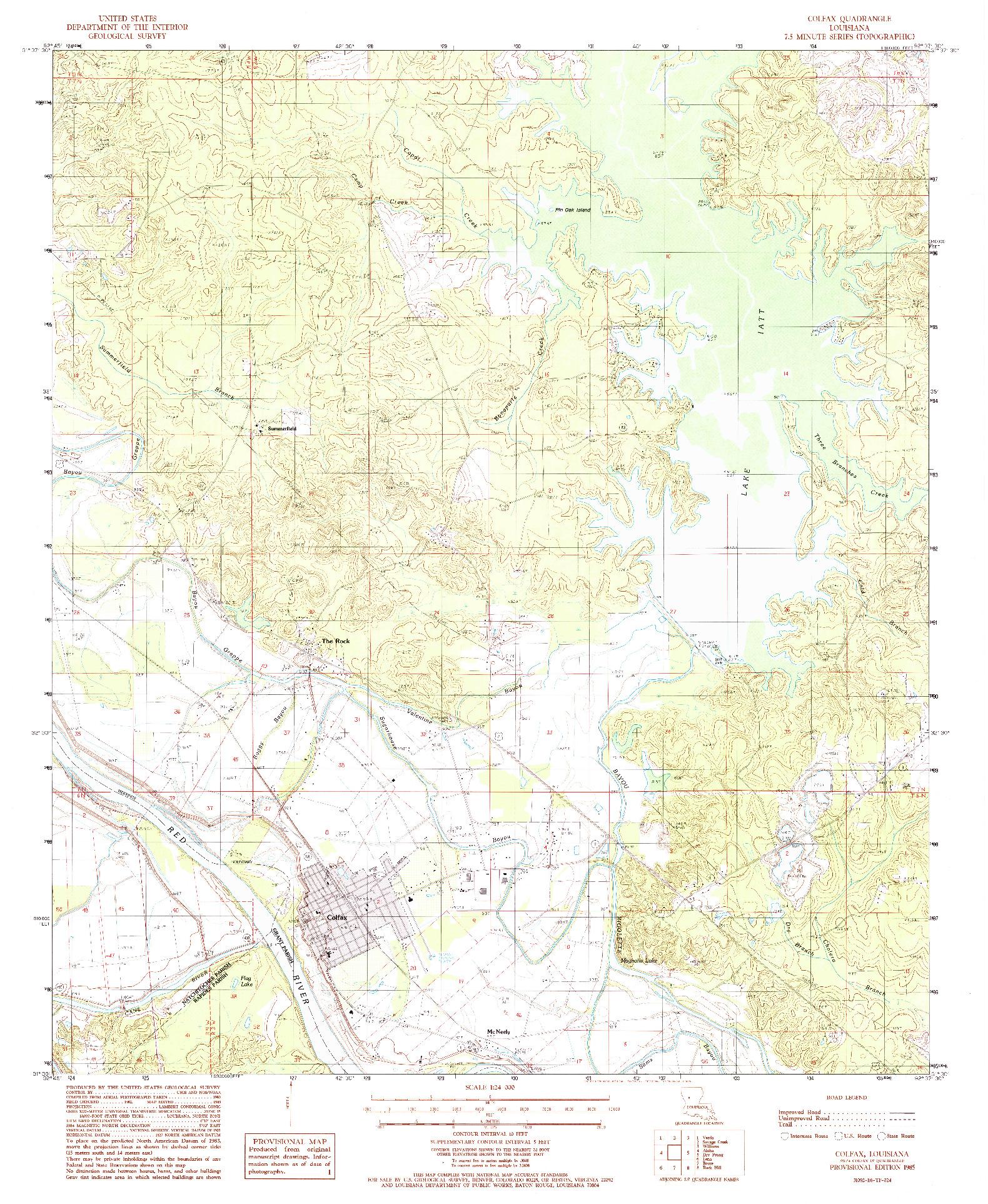 USGS 1:24000-SCALE QUADRANGLE FOR COLFAX, LA 1985