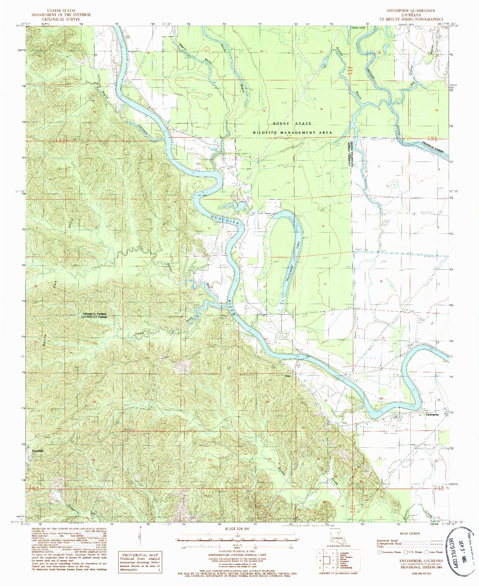 USGS 1:24000-SCALE QUADRANGLE FOR ENTERPRISE, LA 1984