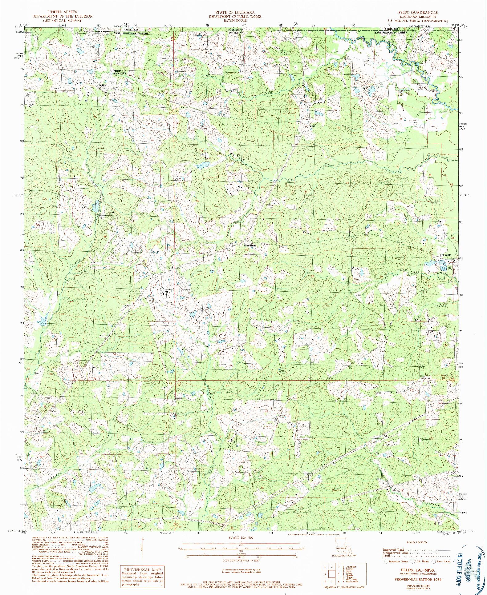 USGS 1:24000-SCALE QUADRANGLE FOR FELPS, LA 1984
