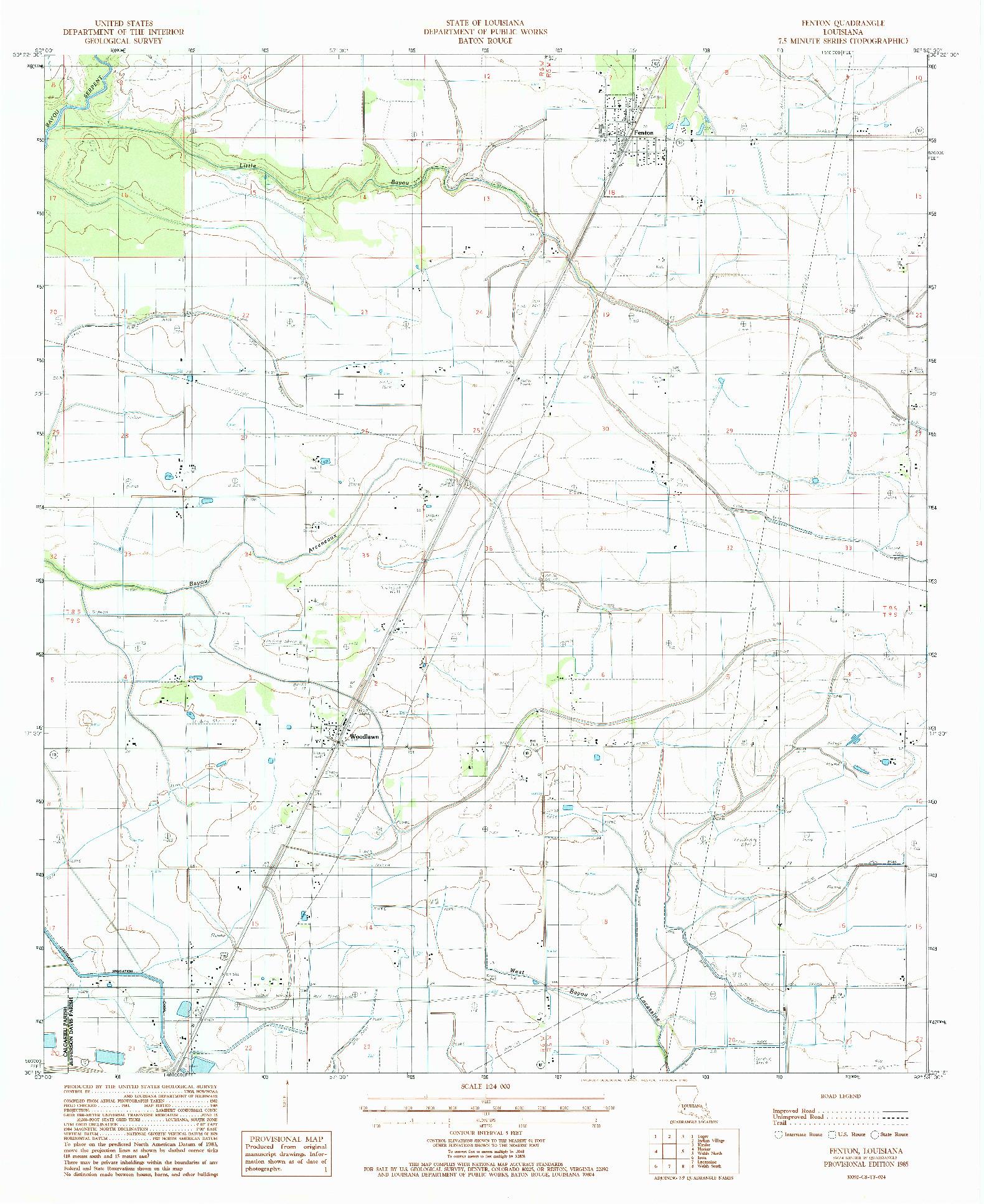 USGS 1:24000-SCALE QUADRANGLE FOR FENTON, LA 1985