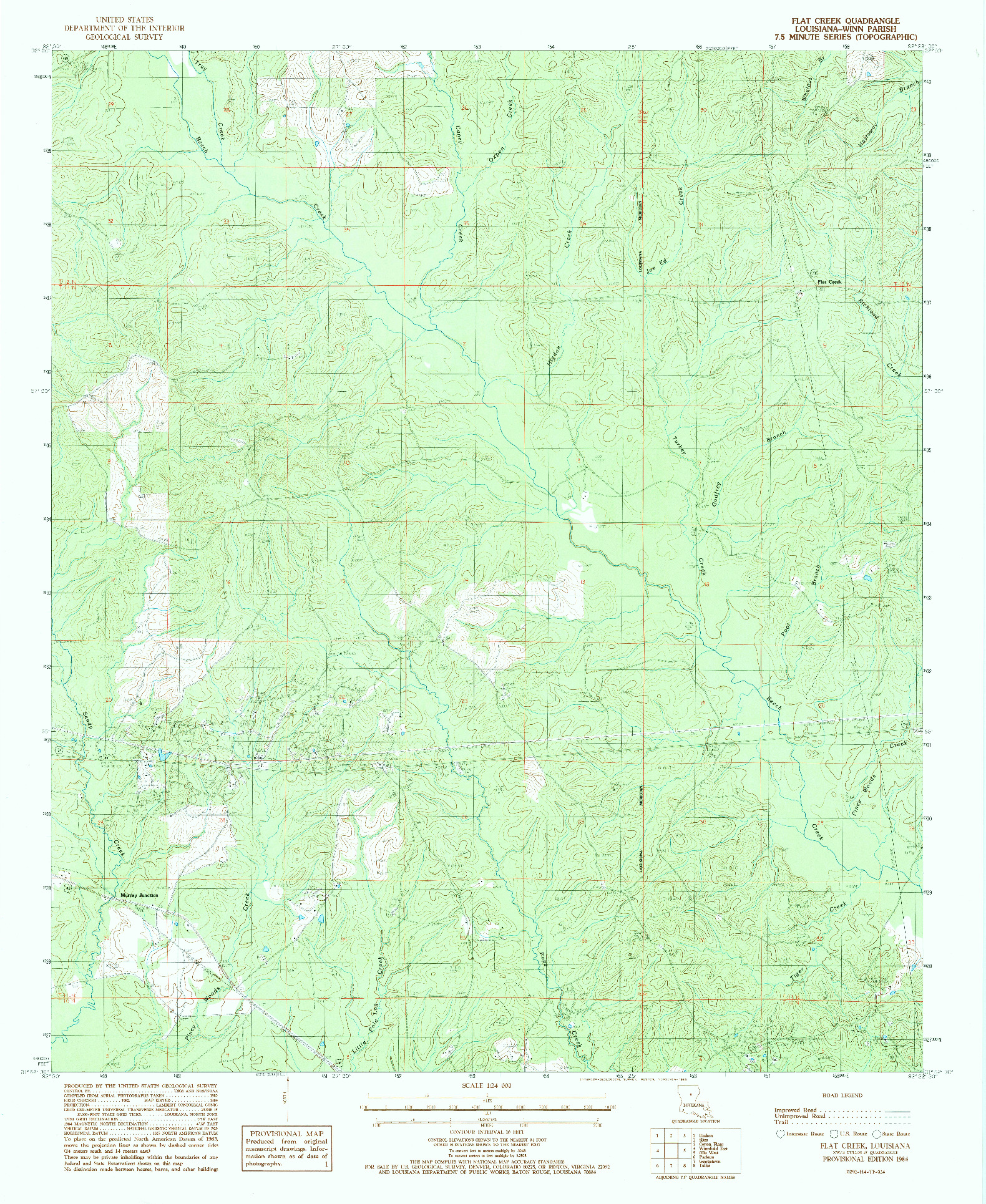 USGS 1:24000-SCALE QUADRANGLE FOR FLAT CREEK, LA 1984