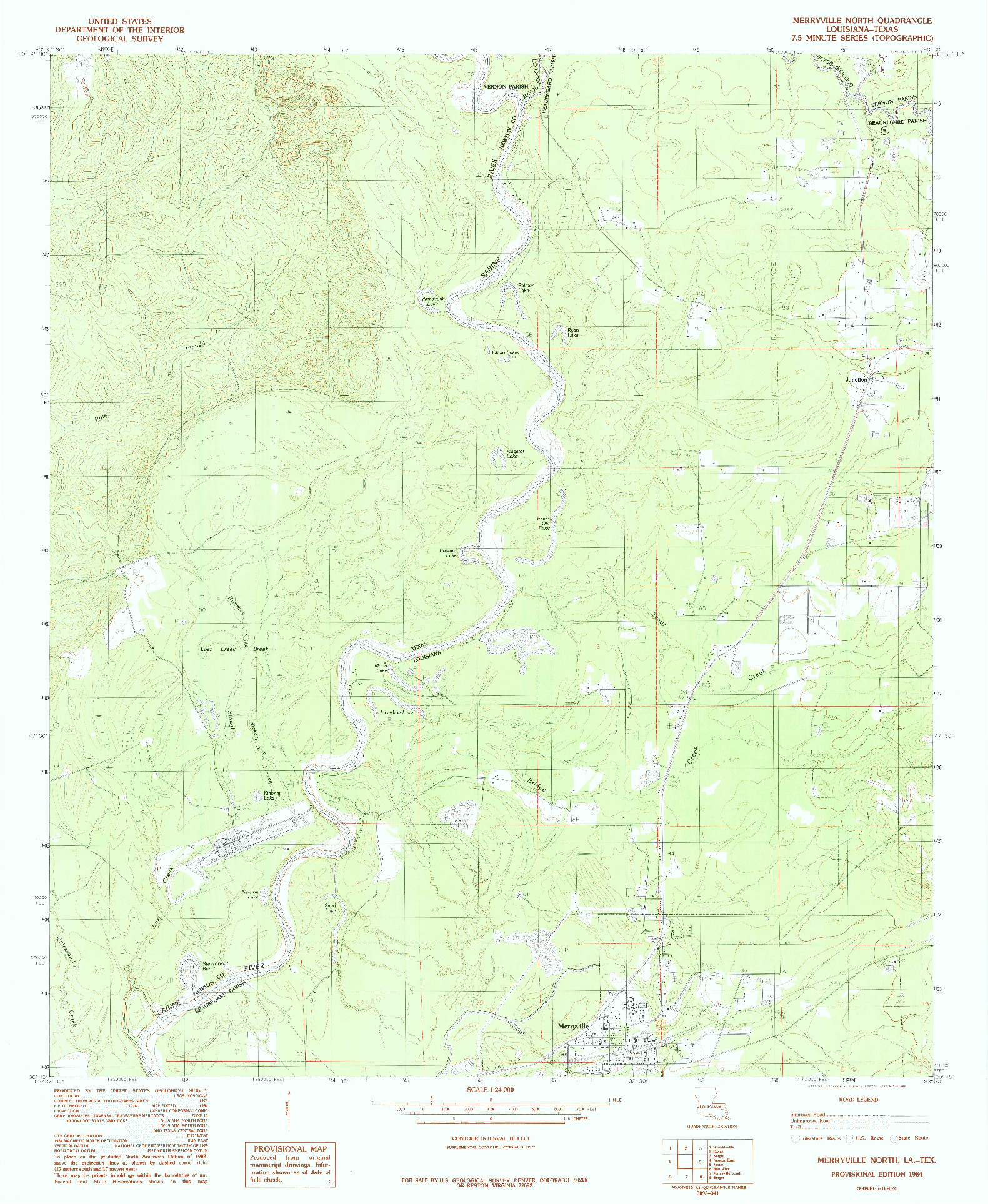 USGS 1:24000-SCALE QUADRANGLE FOR MERRYVILLE NORTH, LA 1984