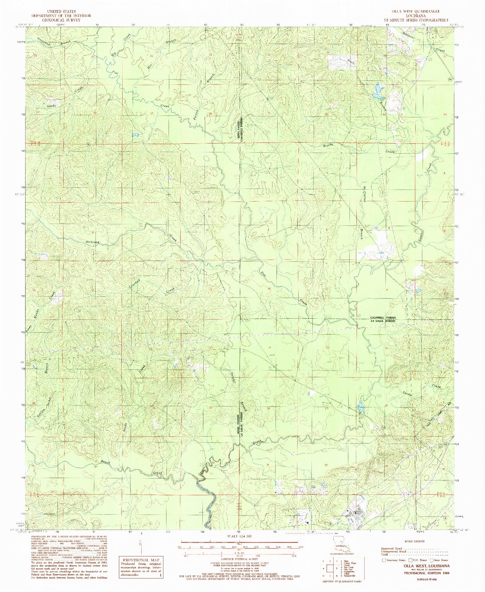 USGS 1:24000-SCALE QUADRANGLE FOR OLLA WEST, LA 1984