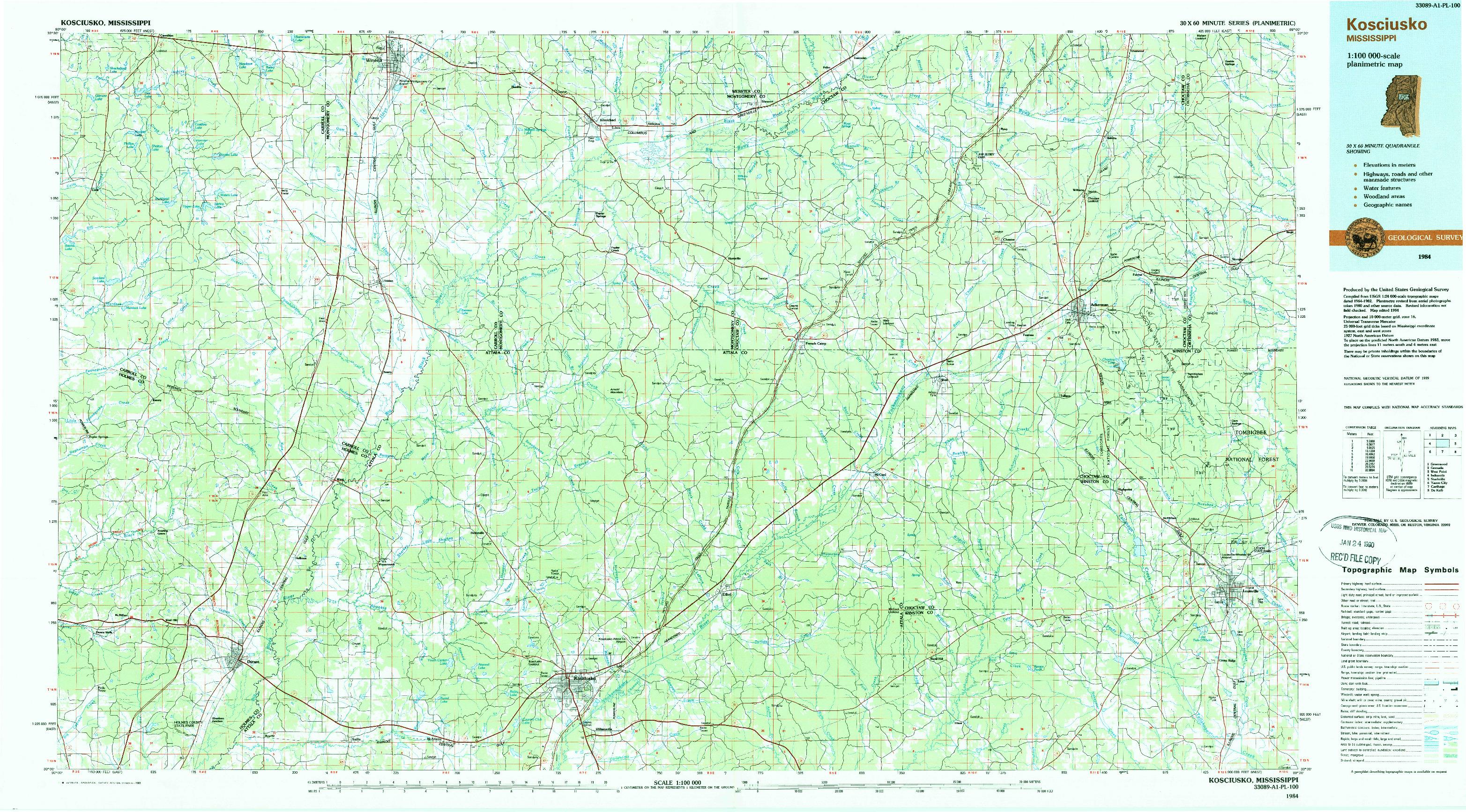 USGS 1:100000-SCALE QUADRANGLE FOR KOSCIUSKO, MS 1984