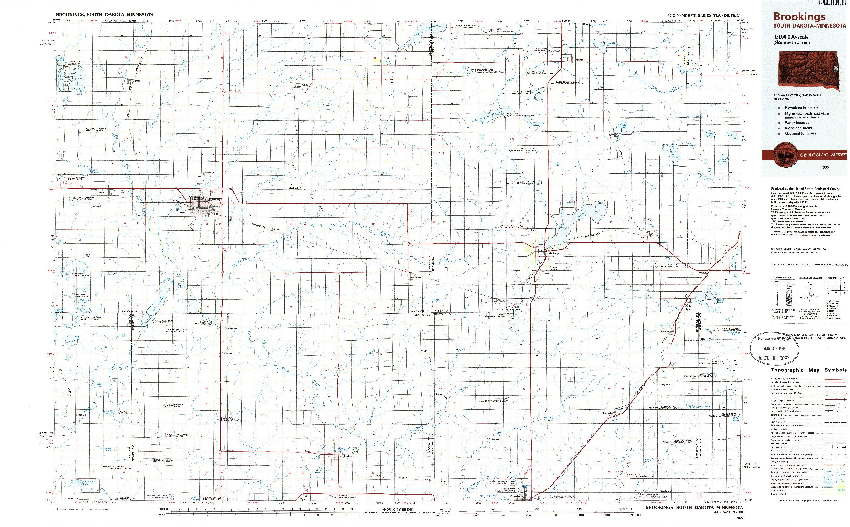 USGS 1:100000-SCALE QUADRANGLE FOR BROOKINGS, SD 1985