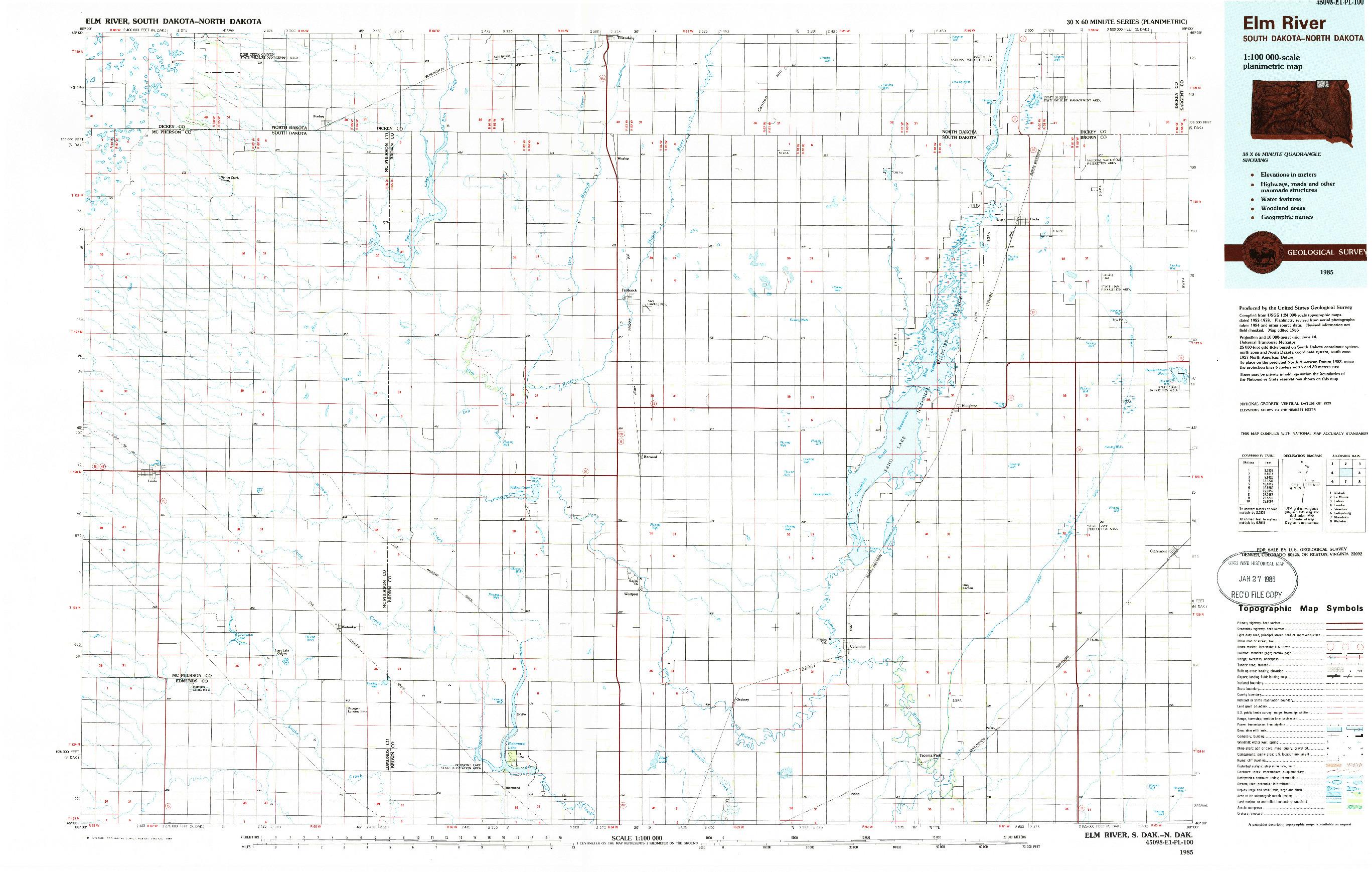 USGS 1:100000-SCALE QUADRANGLE FOR ELM RIVER, SD 1985