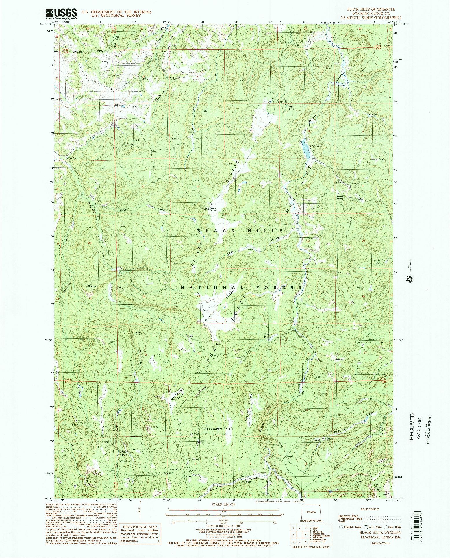 USGS 1:24000-SCALE QUADRANGLE FOR BLACK HILLS, WY 1984