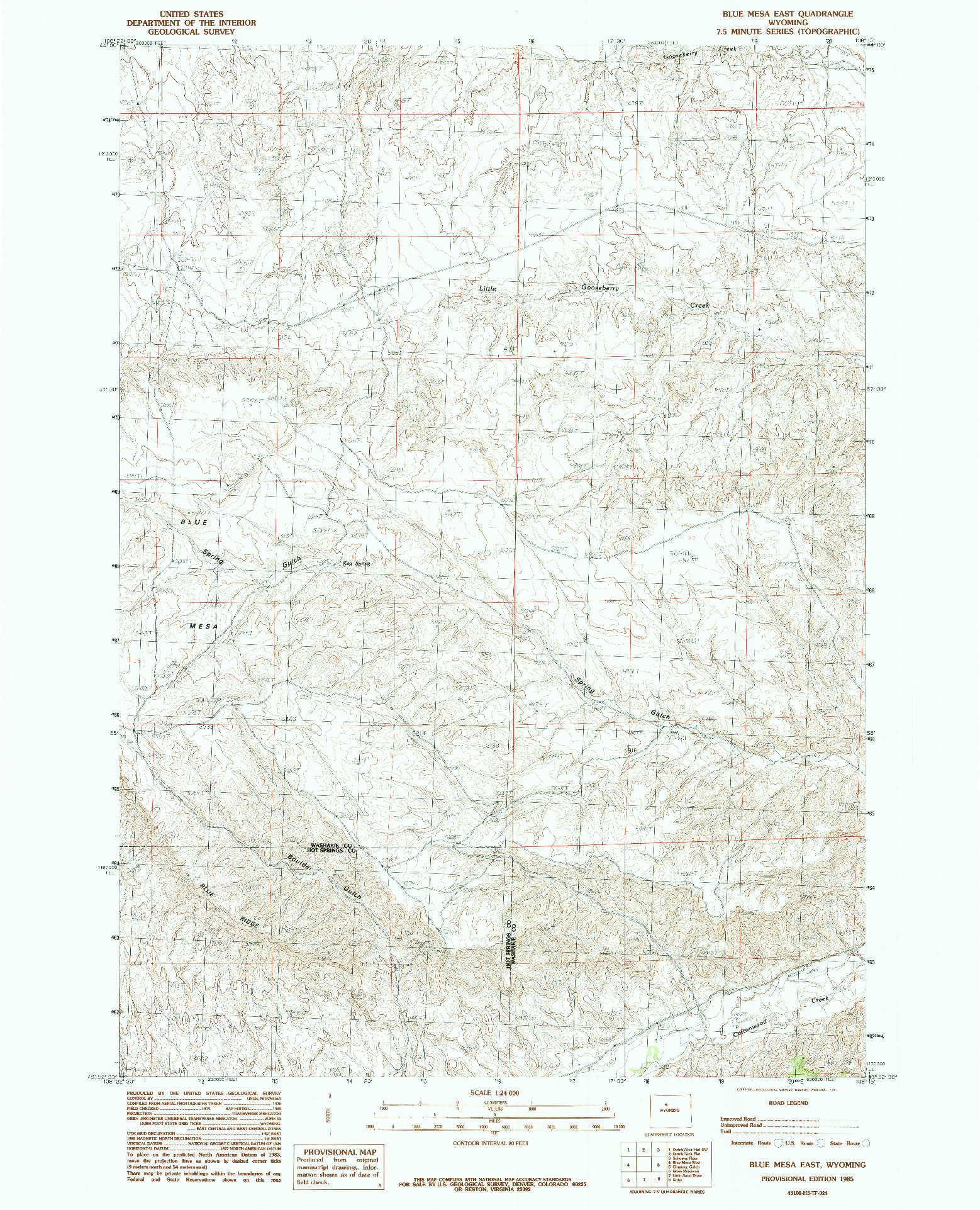 USGS 1:24000-SCALE QUADRANGLE FOR BLUE MESA EAST, WY 1985
