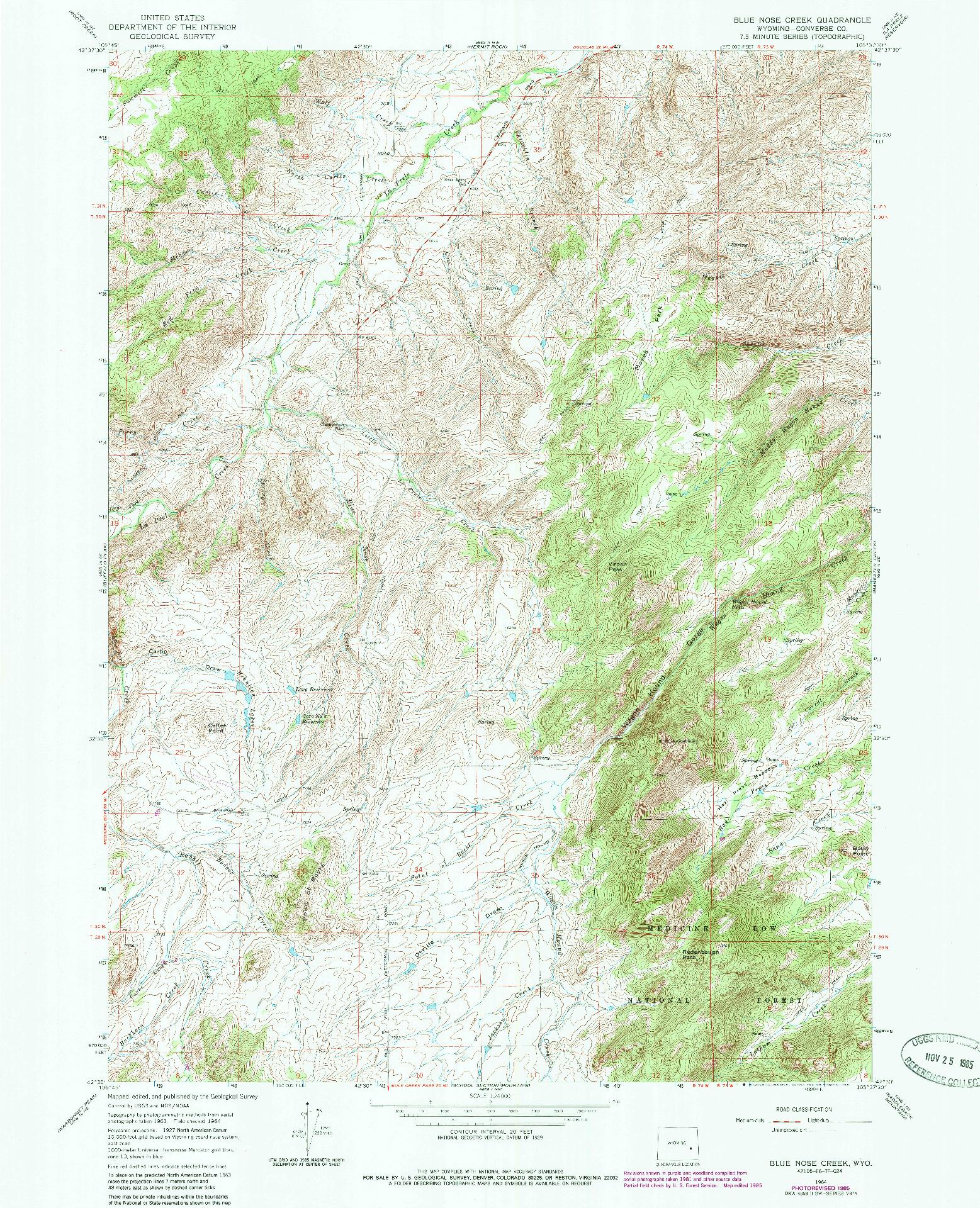 USGS 1:24000-SCALE QUADRANGLE FOR BLUE NOSE CREEK, WY 1964
