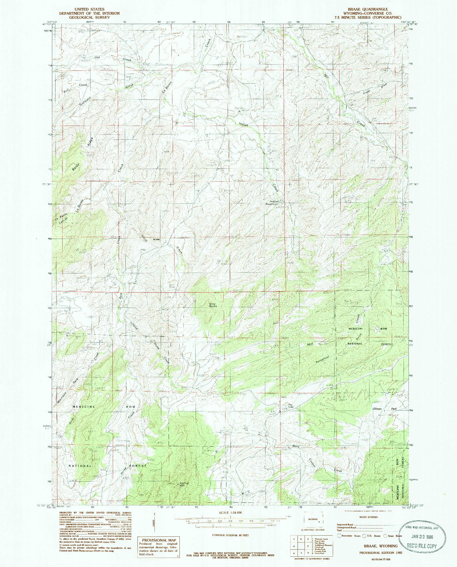 USGS 1:24000-SCALE QUADRANGLE FOR BRAAE, WY 1985