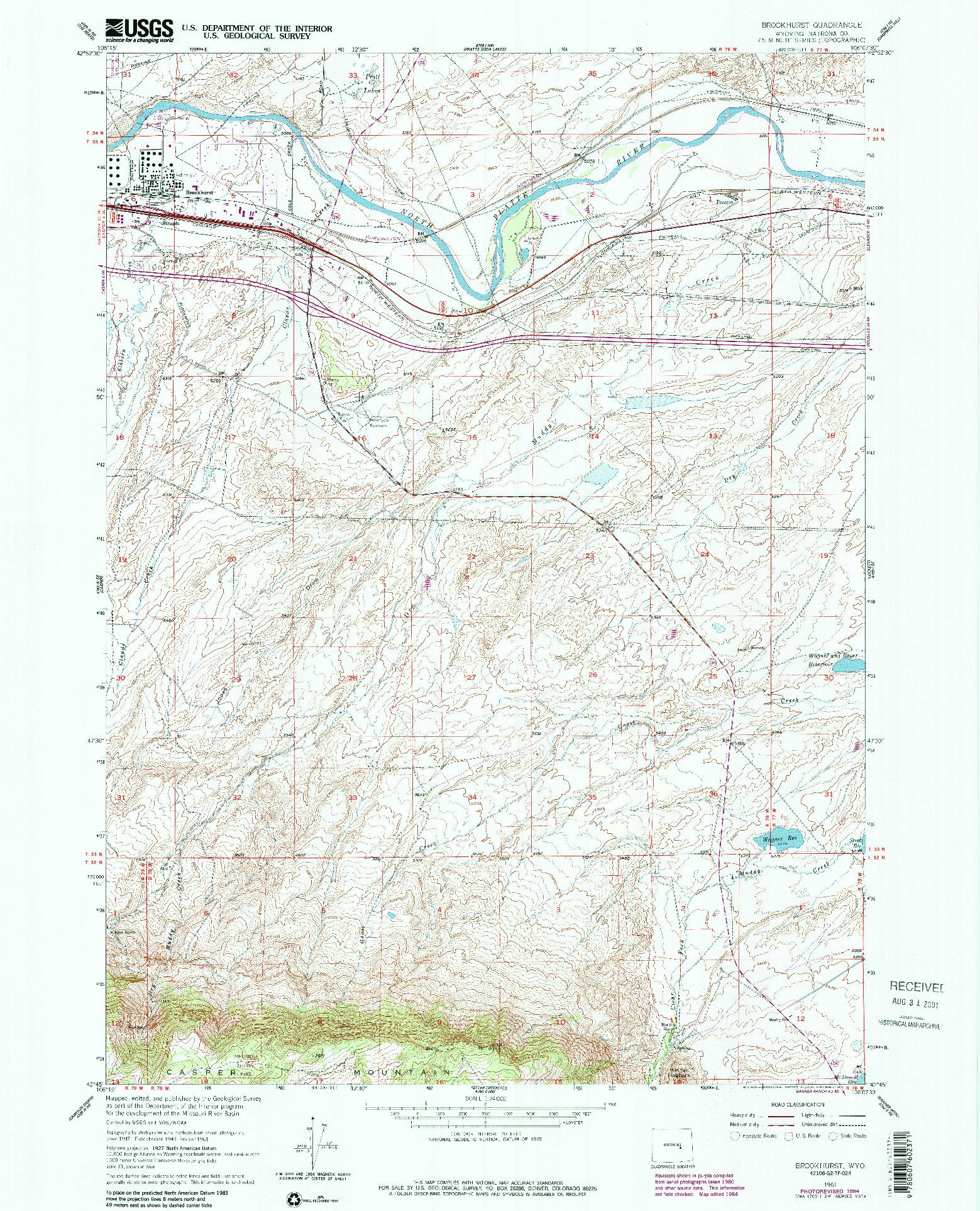 USGS 1:24000-SCALE QUADRANGLE FOR BROOKHURST, WY 1961