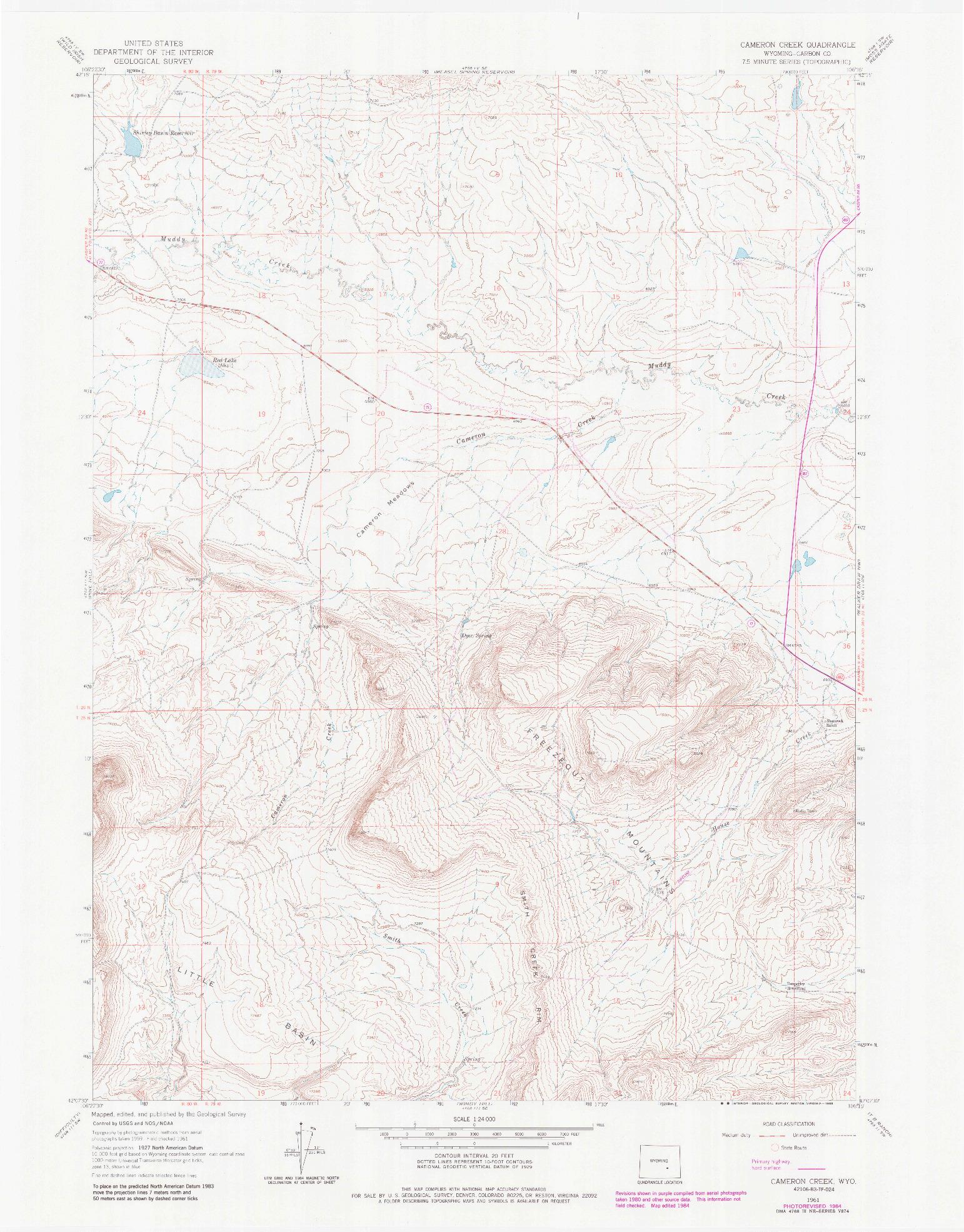 USGS 1:24000-SCALE QUADRANGLE FOR CAMERON CREEK, WY 1961