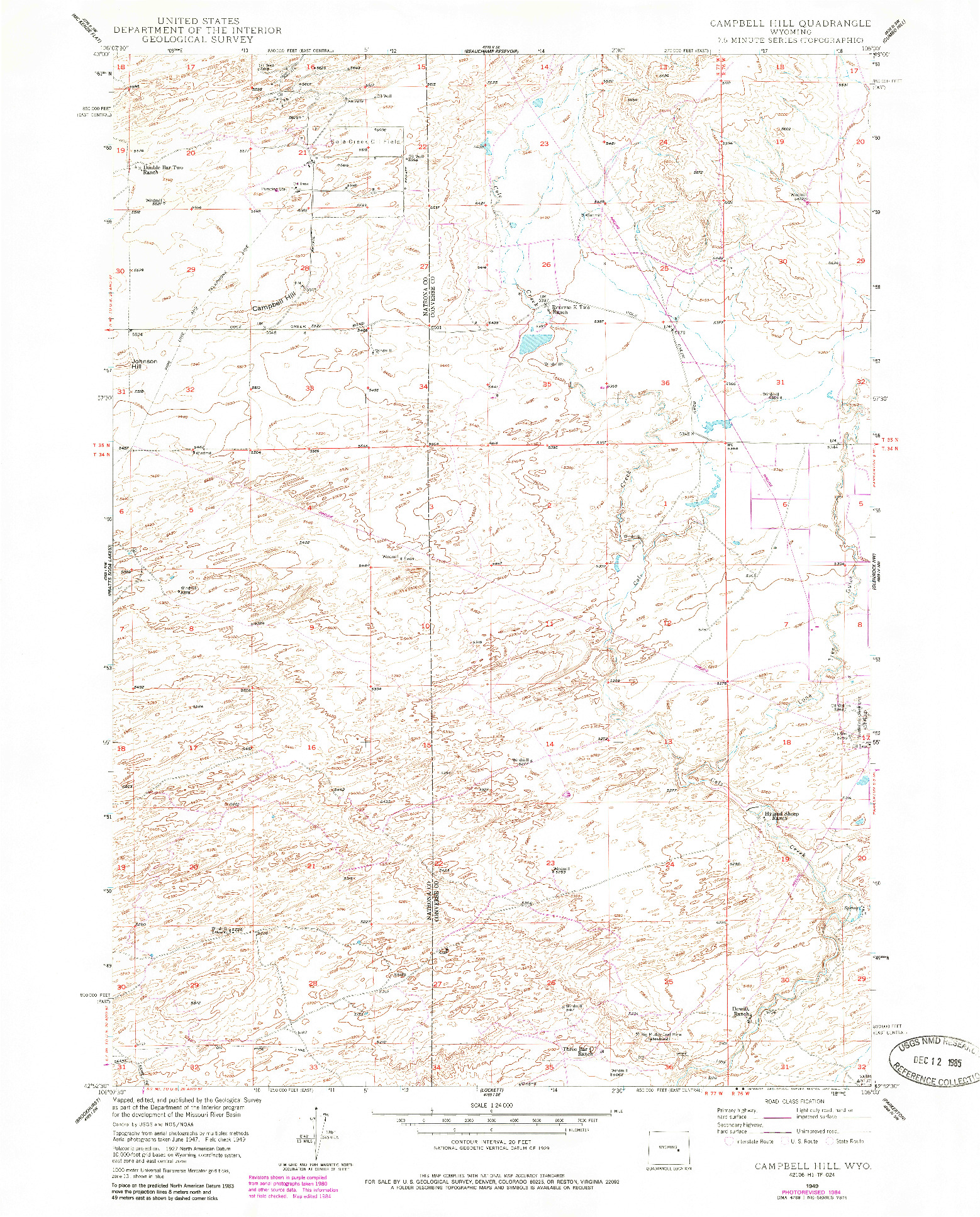USGS 1:24000-SCALE QUADRANGLE FOR CAMPBELL HILL, WY 1949