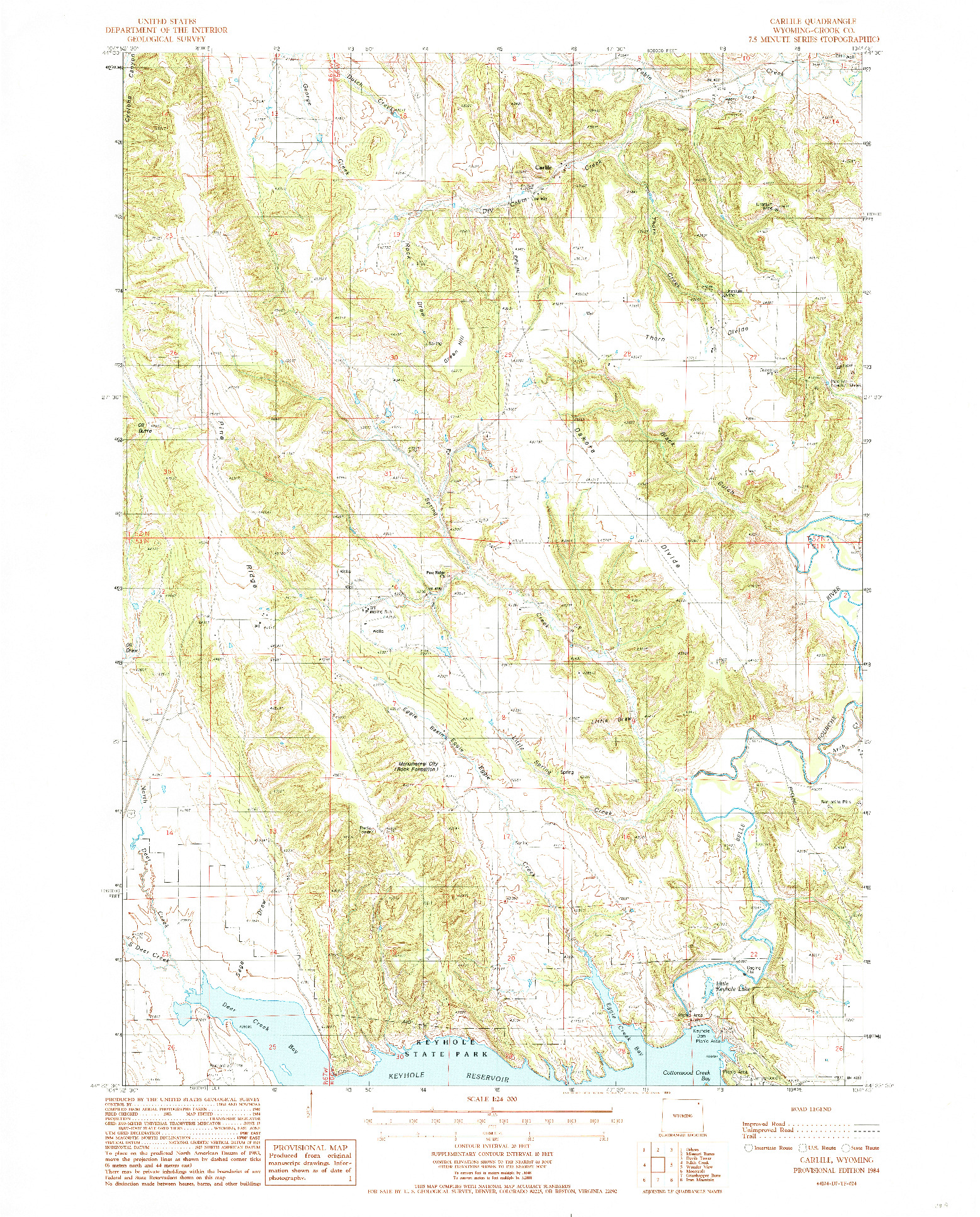 USGS 1:24000-SCALE QUADRANGLE FOR CARLILE, WY 1984