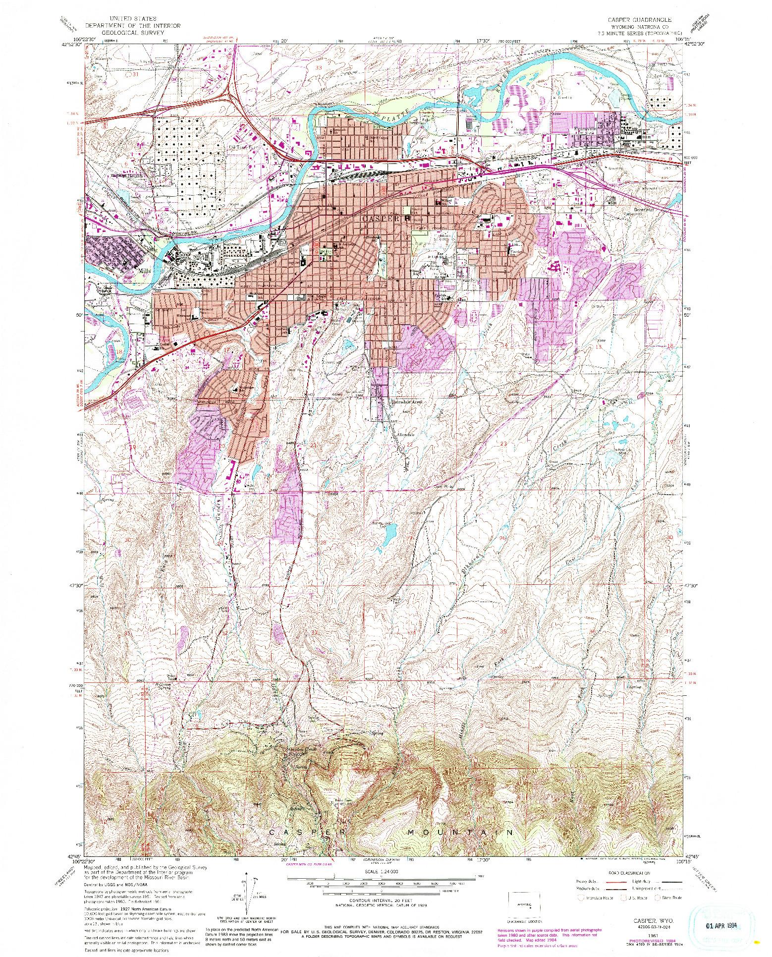 USGS 1:24000-SCALE QUADRANGLE FOR CASPER, WY 1961