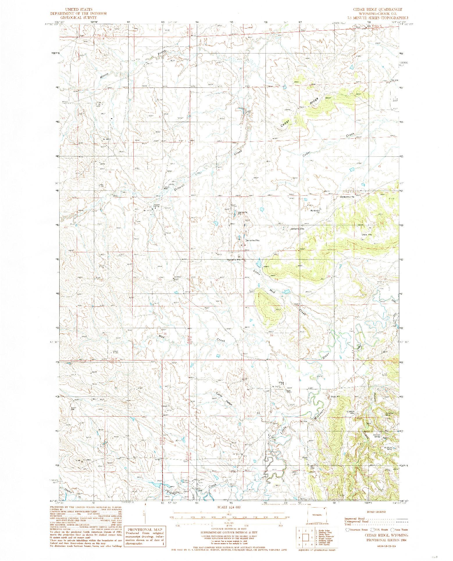 USGS 1:24000-SCALE QUADRANGLE FOR CEDAR RIDGE, WY 1984