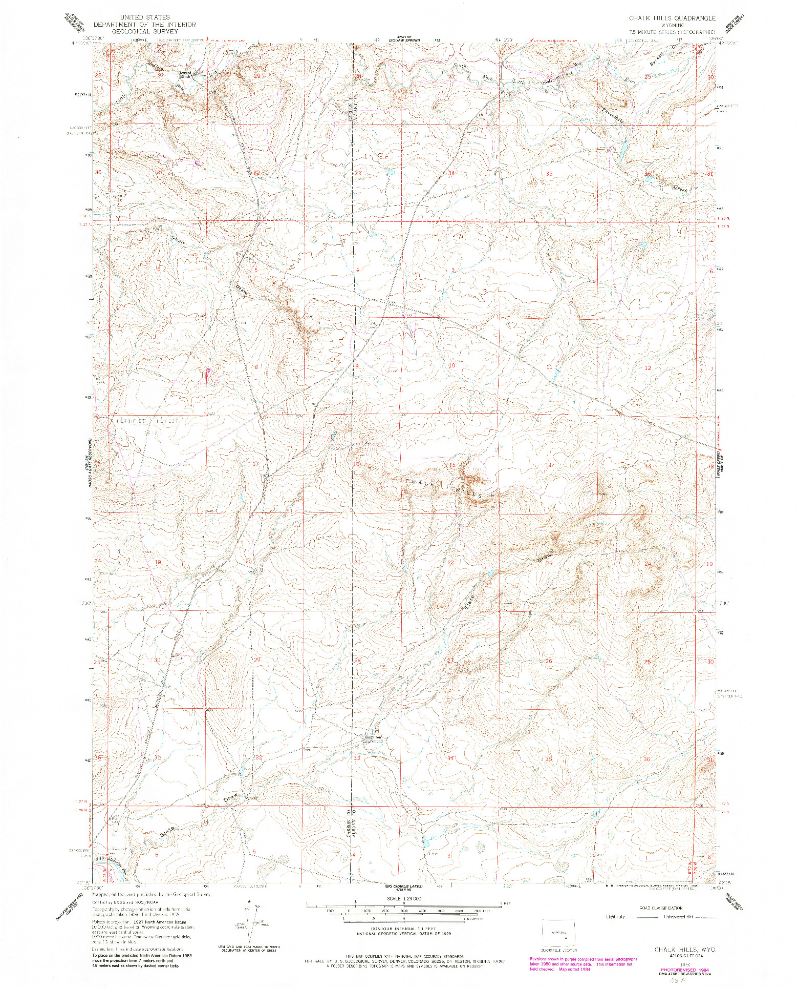 USGS 1:24000-SCALE QUADRANGLE FOR CHALK HILLS, WY 1959