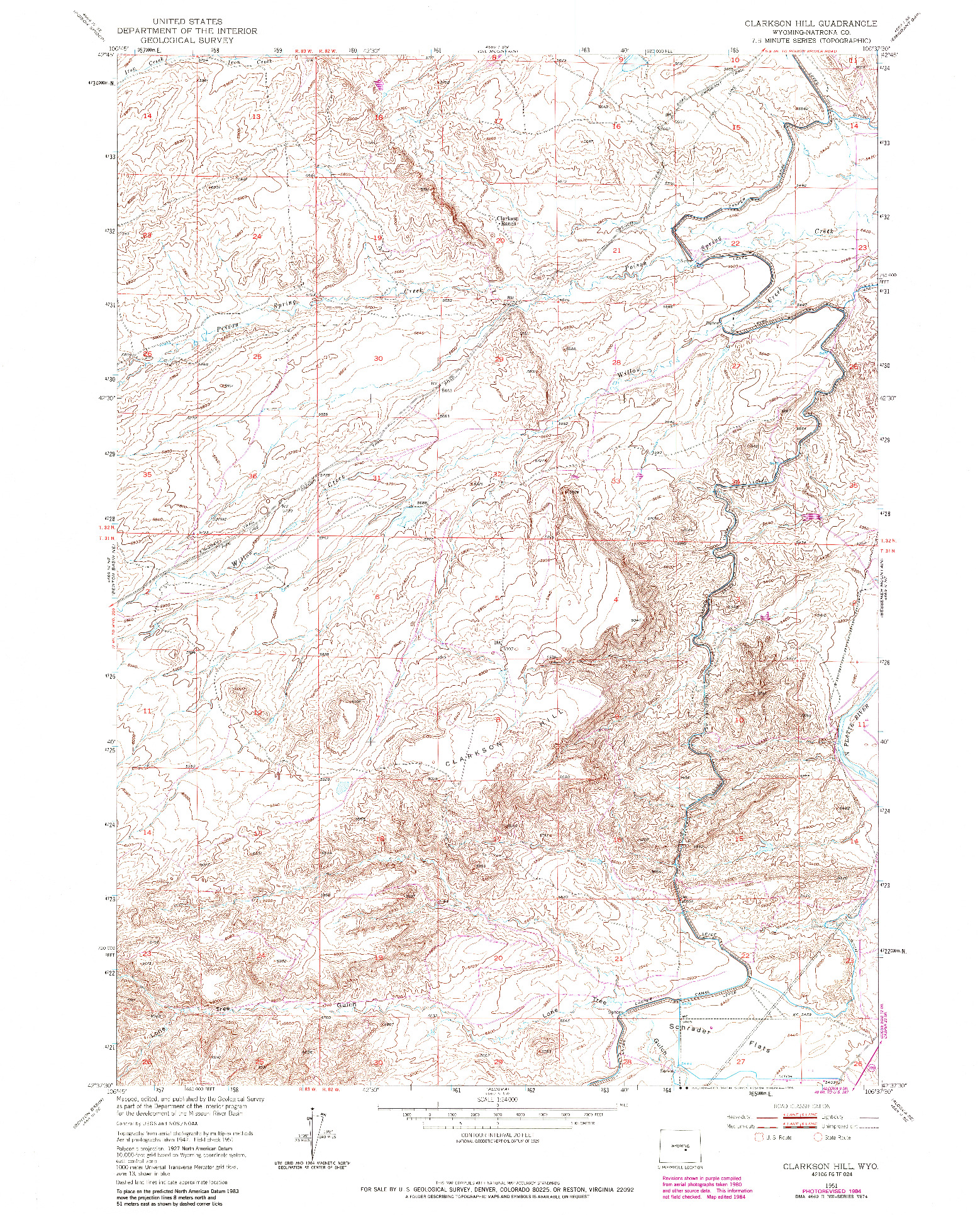 USGS 1:24000-SCALE QUADRANGLE FOR CLARKSON HILL, WY 1951