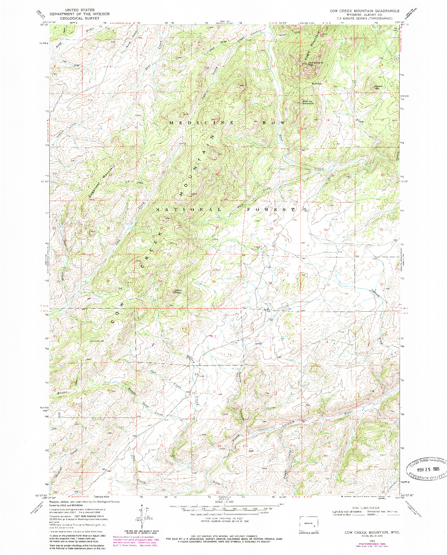 USGS 1:24000-SCALE QUADRANGLE FOR COW CREEK MOUNTAIN, WY 1968
