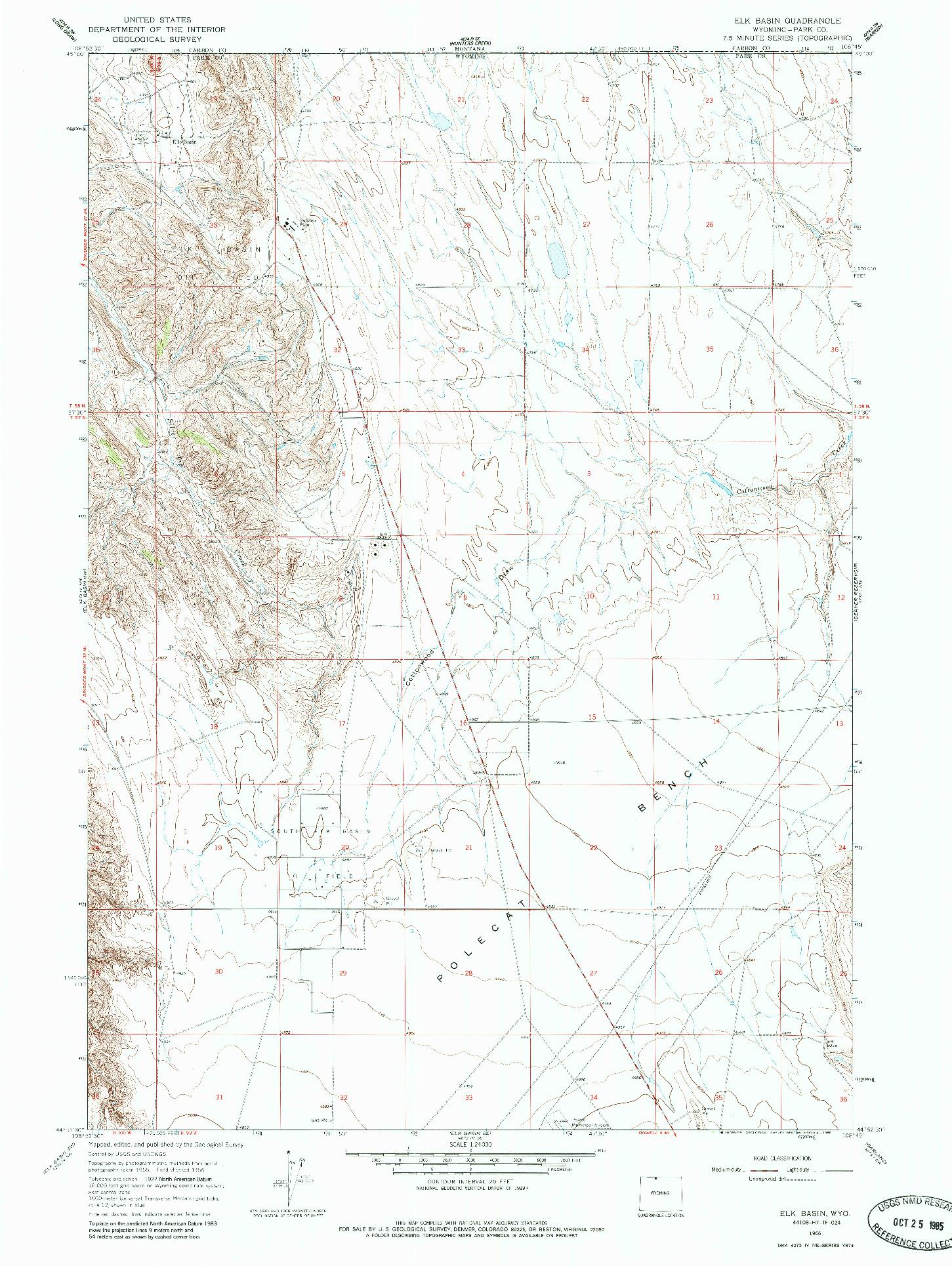 USGS 1:24000-SCALE QUADRANGLE FOR ELK BASIN, WY 1966