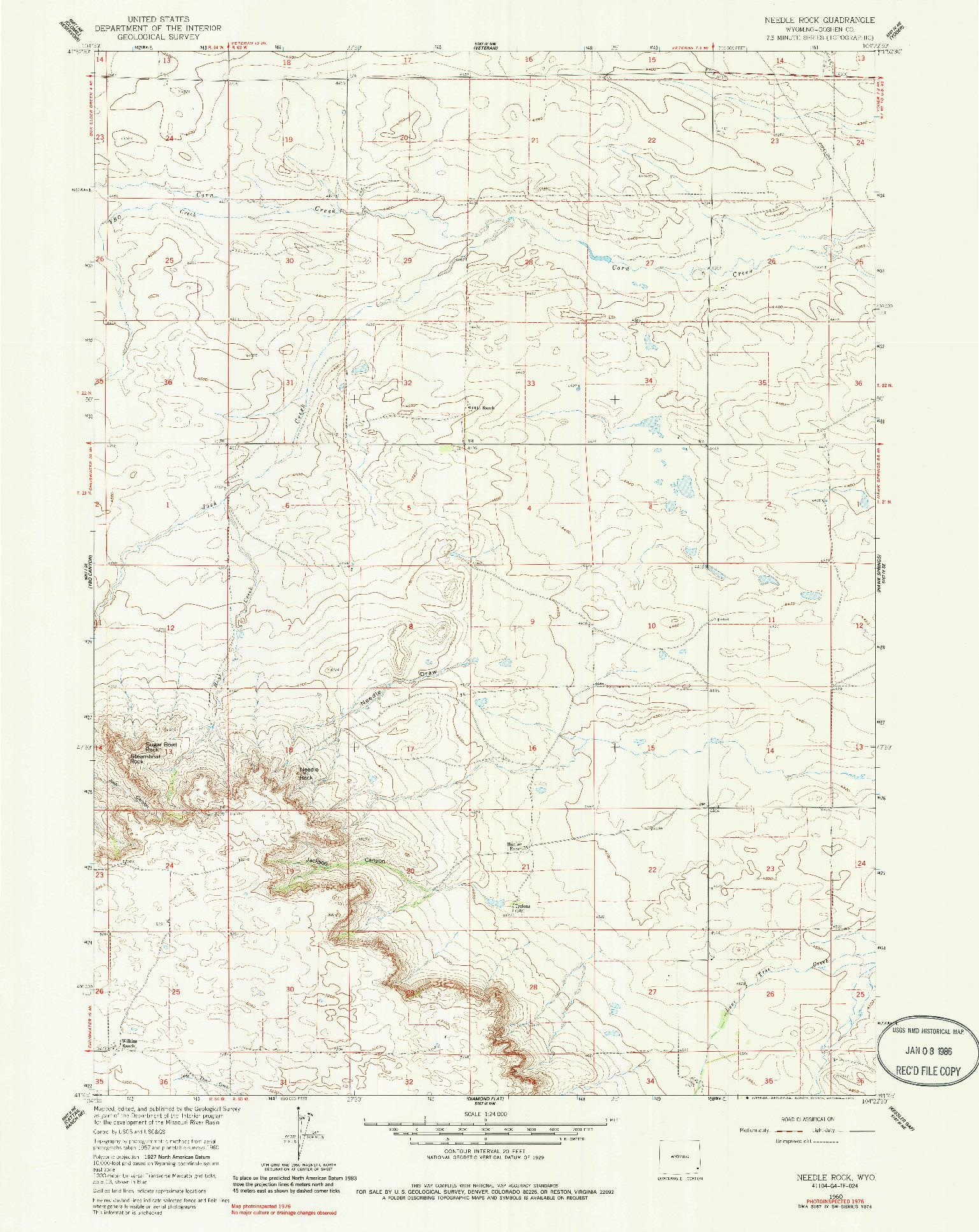 USGS 1:24000-SCALE QUADRANGLE FOR NEEDLE ROCK, WY 1960