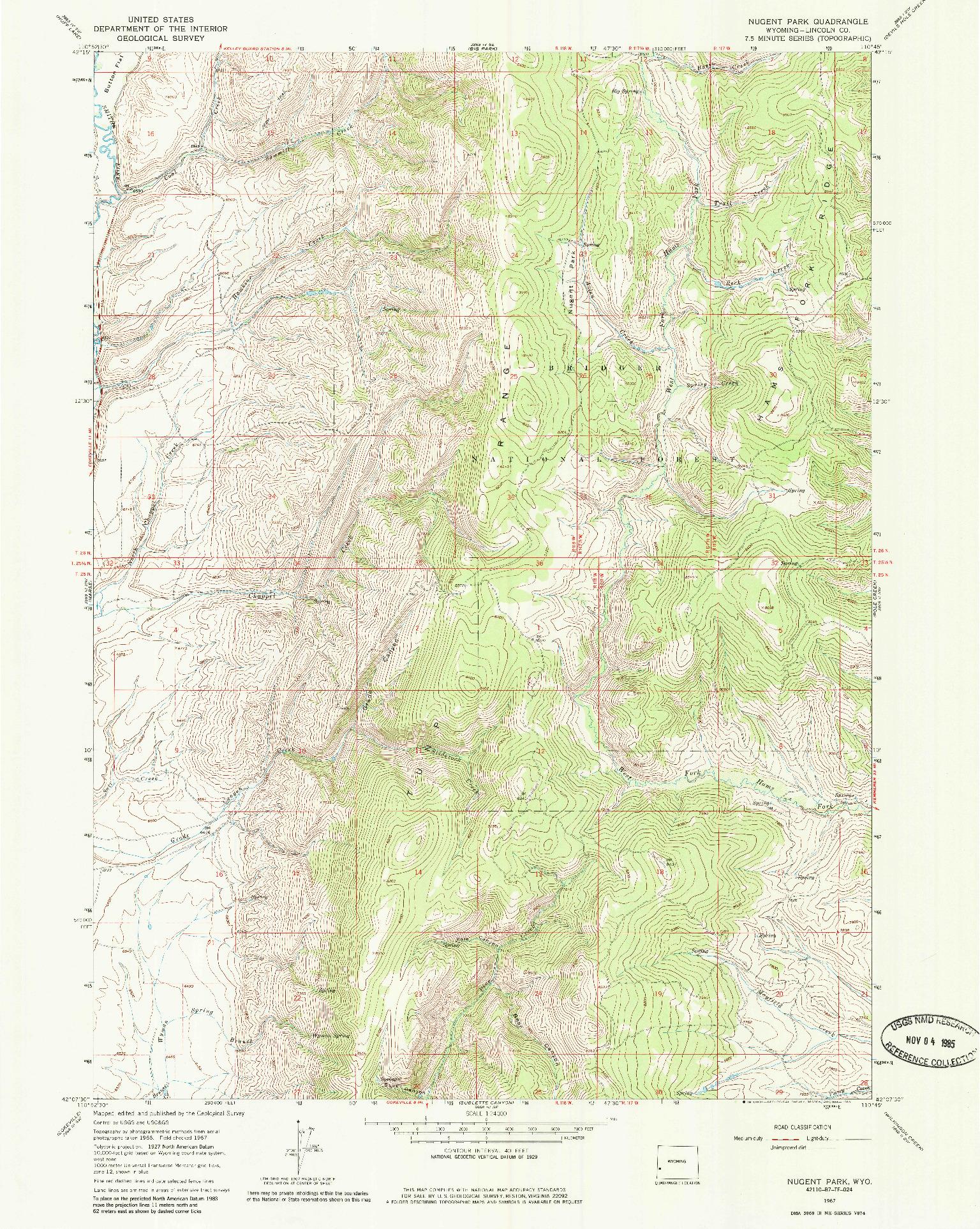 USGS 1:24000-SCALE QUADRANGLE FOR NUGENT PARK, WY 1967