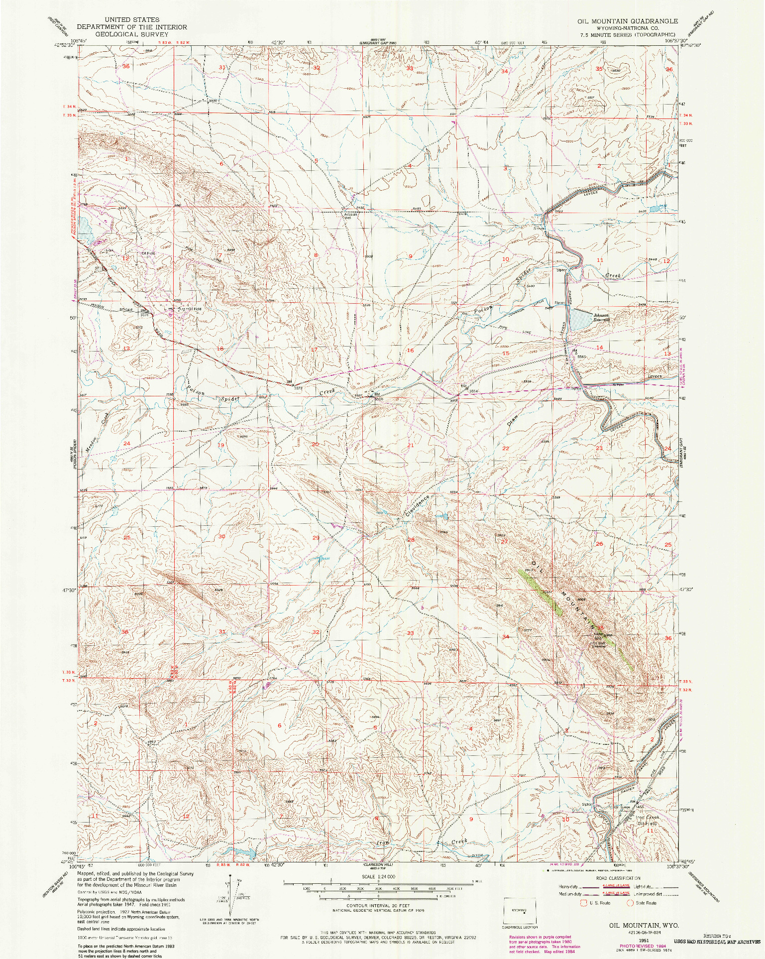 USGS 1:24000-SCALE QUADRANGLE FOR OIL MOUNTAIN, WY 1951