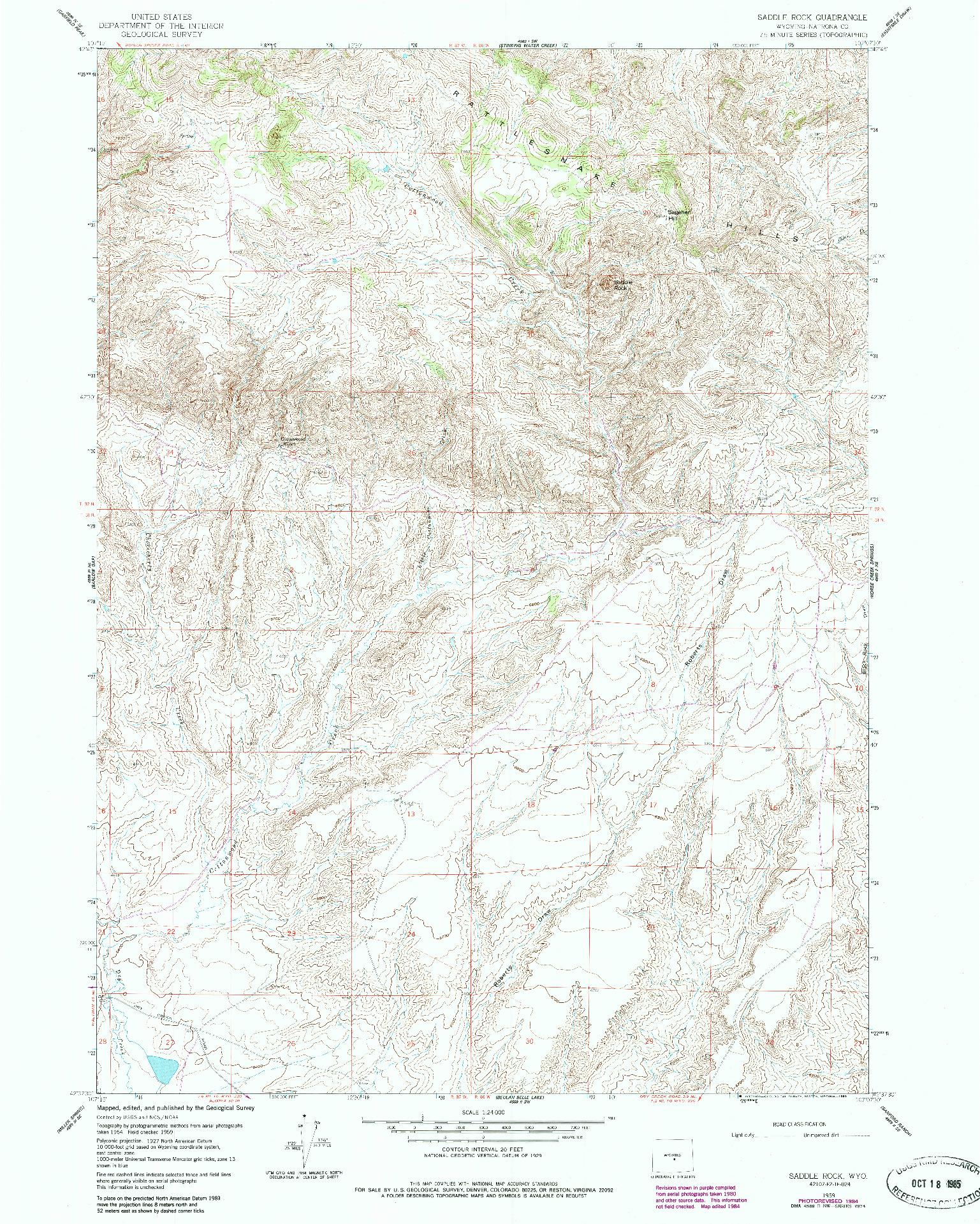 USGS 1:24000-SCALE QUADRANGLE FOR SADDLE ROCK, WY 1959