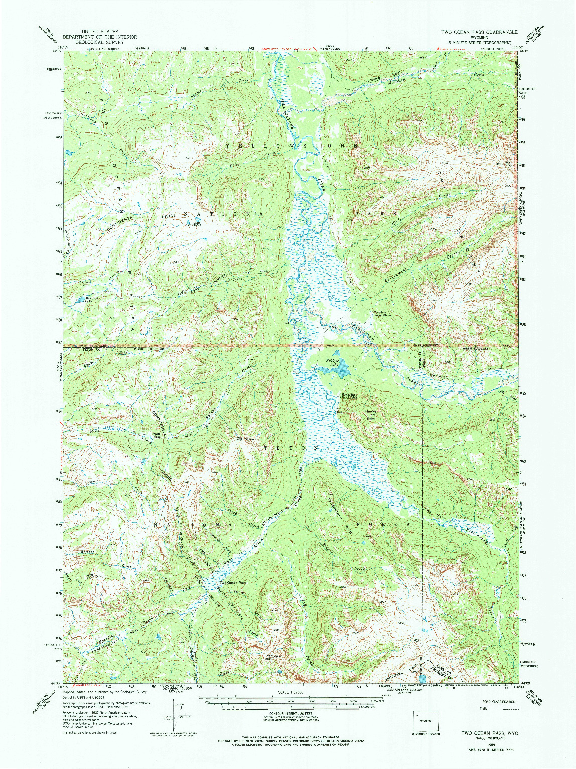 USGS 1:62500-SCALE QUADRANGLE FOR TWO OCEAN PASS, WY 1959