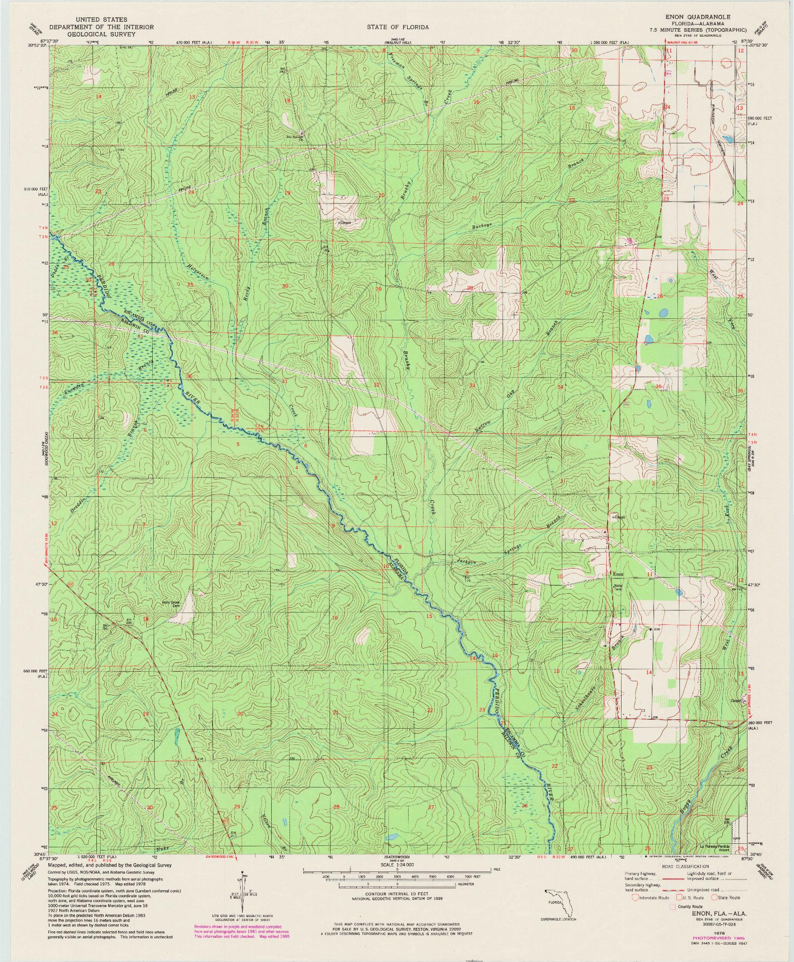 USGS 1:24000-SCALE QUADRANGLE FOR ENON, FL 1978