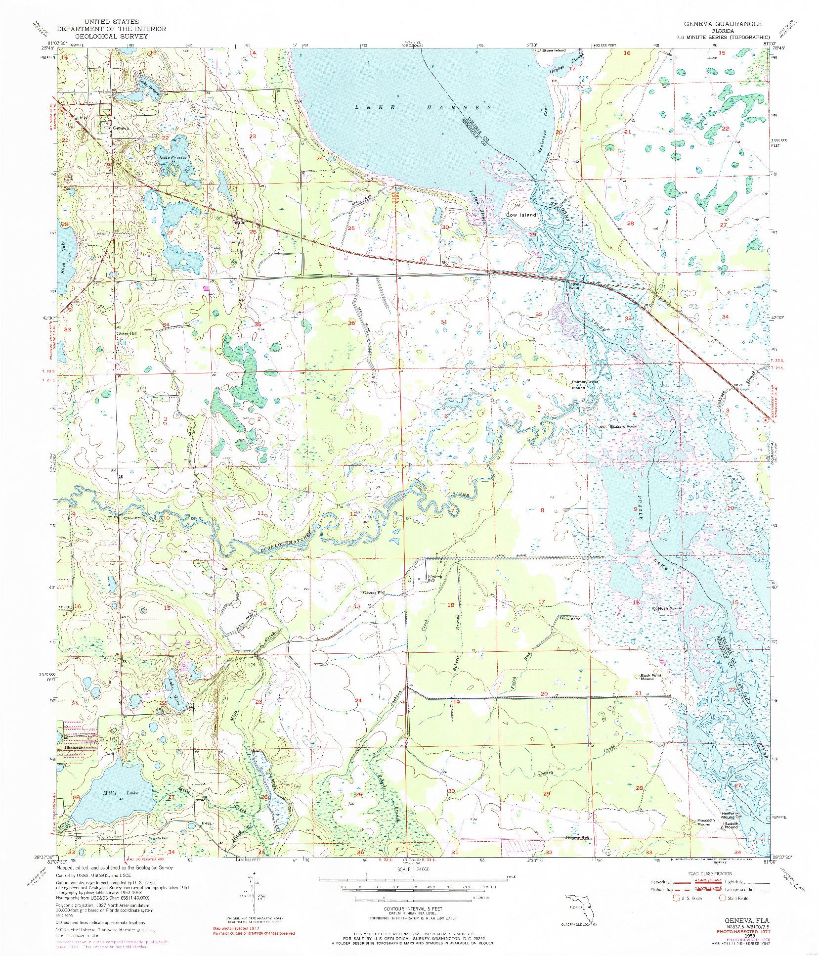 USGS 1:24000-SCALE QUADRANGLE FOR GENEVA, FL 1953