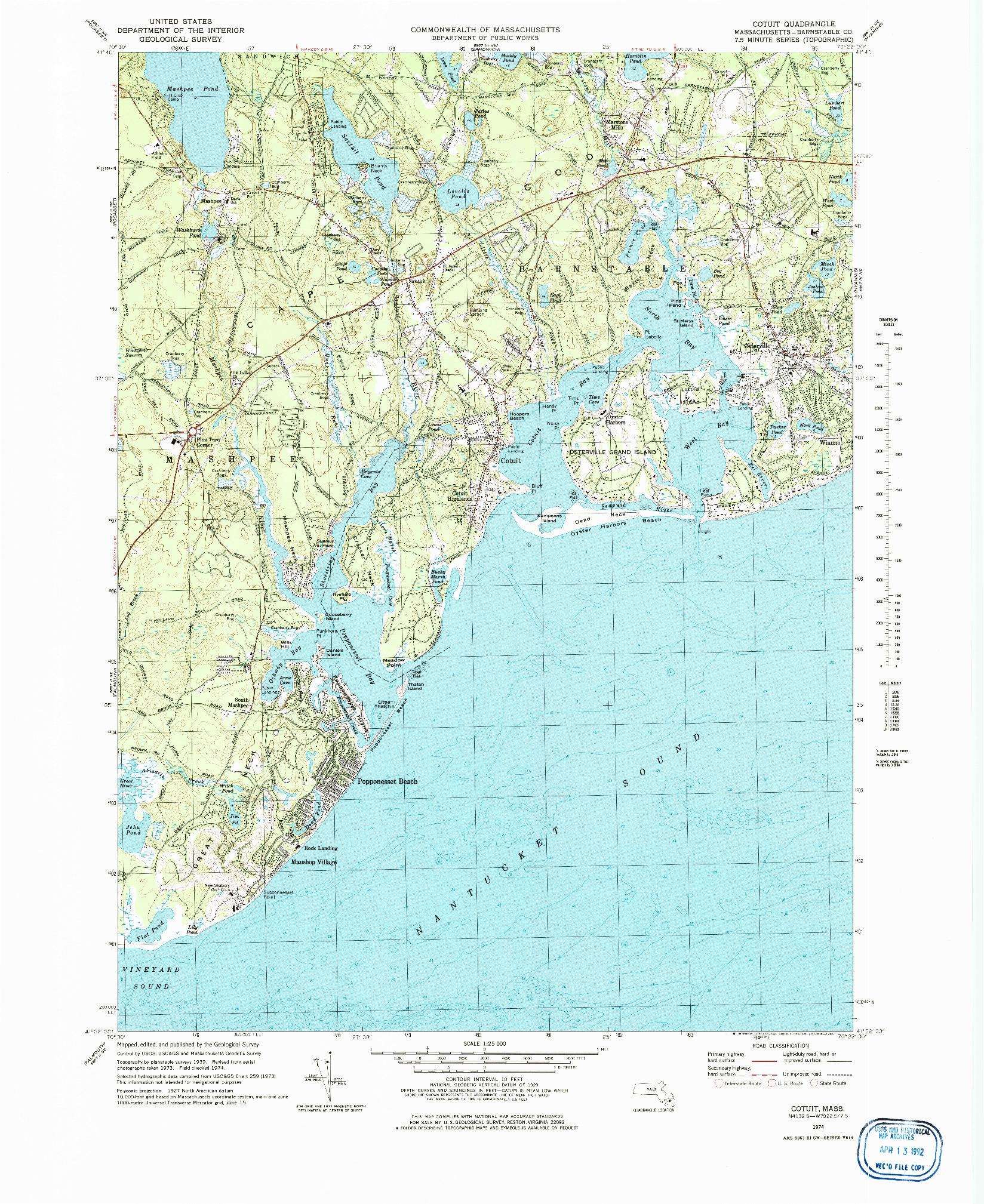 USGS 1:24000-SCALE QUADRANGLE FOR COTUIT, MA 1974