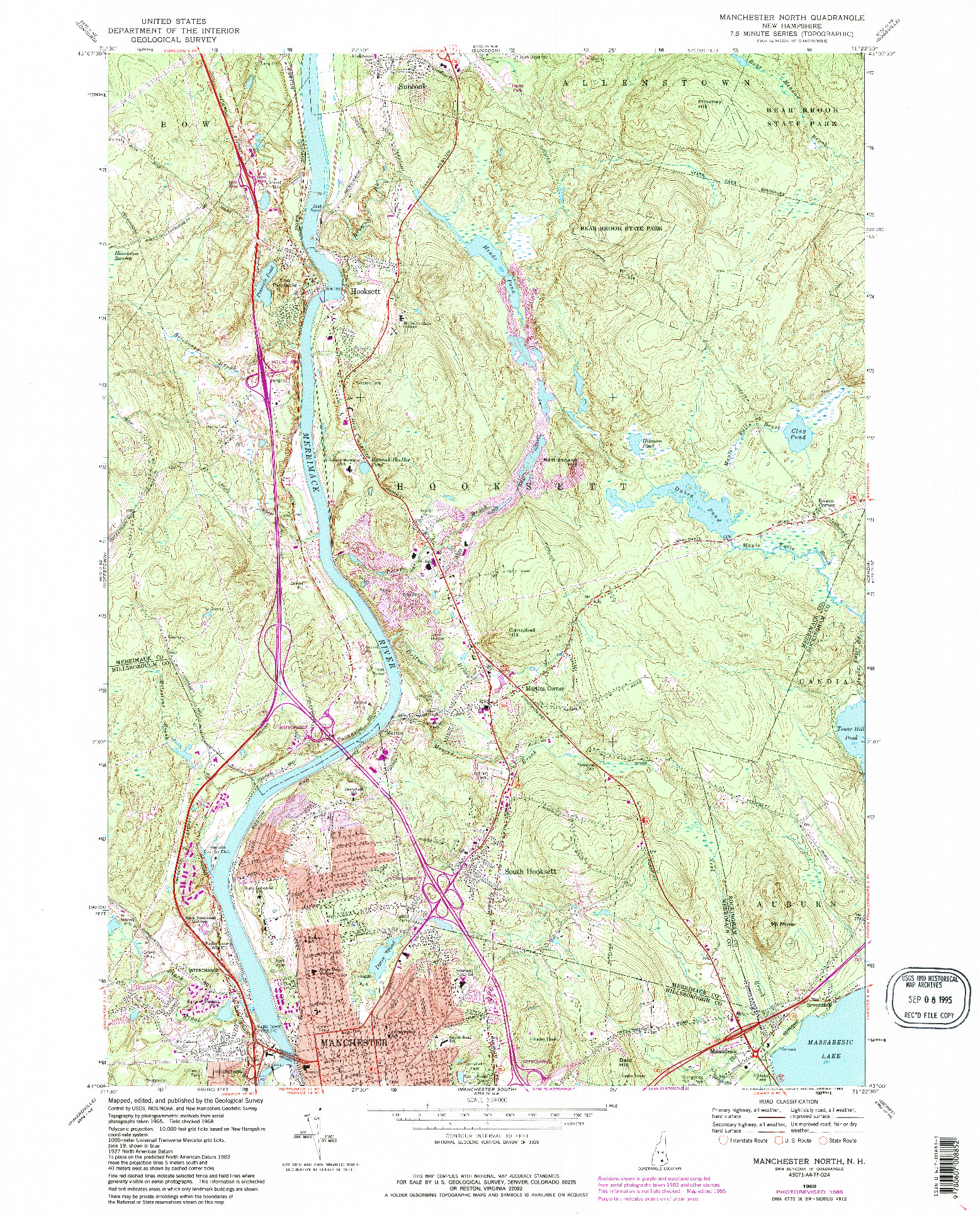 USGS 1:24000-SCALE QUADRANGLE FOR MANCHESTER NORTH, NH 1968