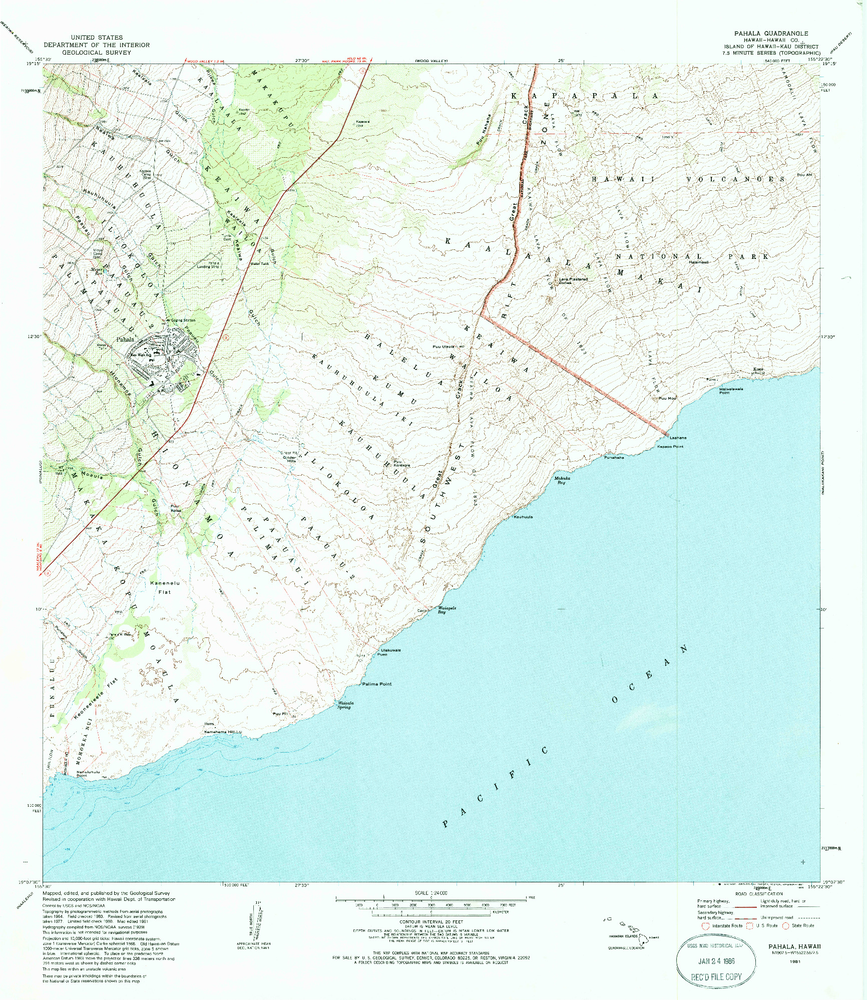 USGS 1:24000-SCALE QUADRANGLE FOR PAHALA, HI 1981