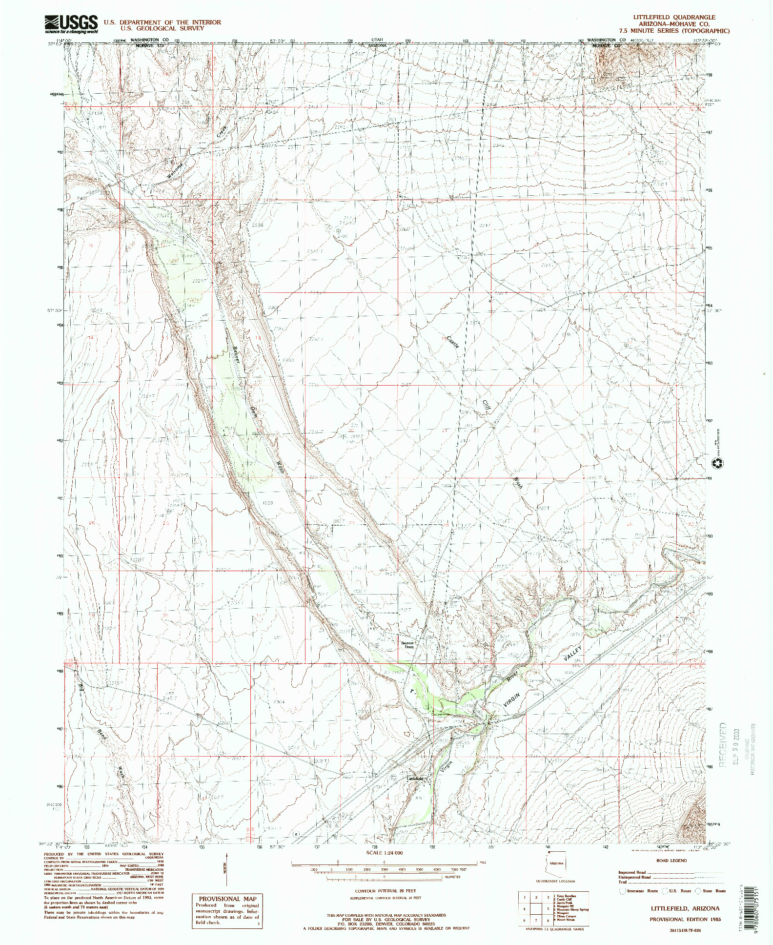 USGS 1:24000-SCALE QUADRANGLE FOR LITTLEFIELD, AZ 1985