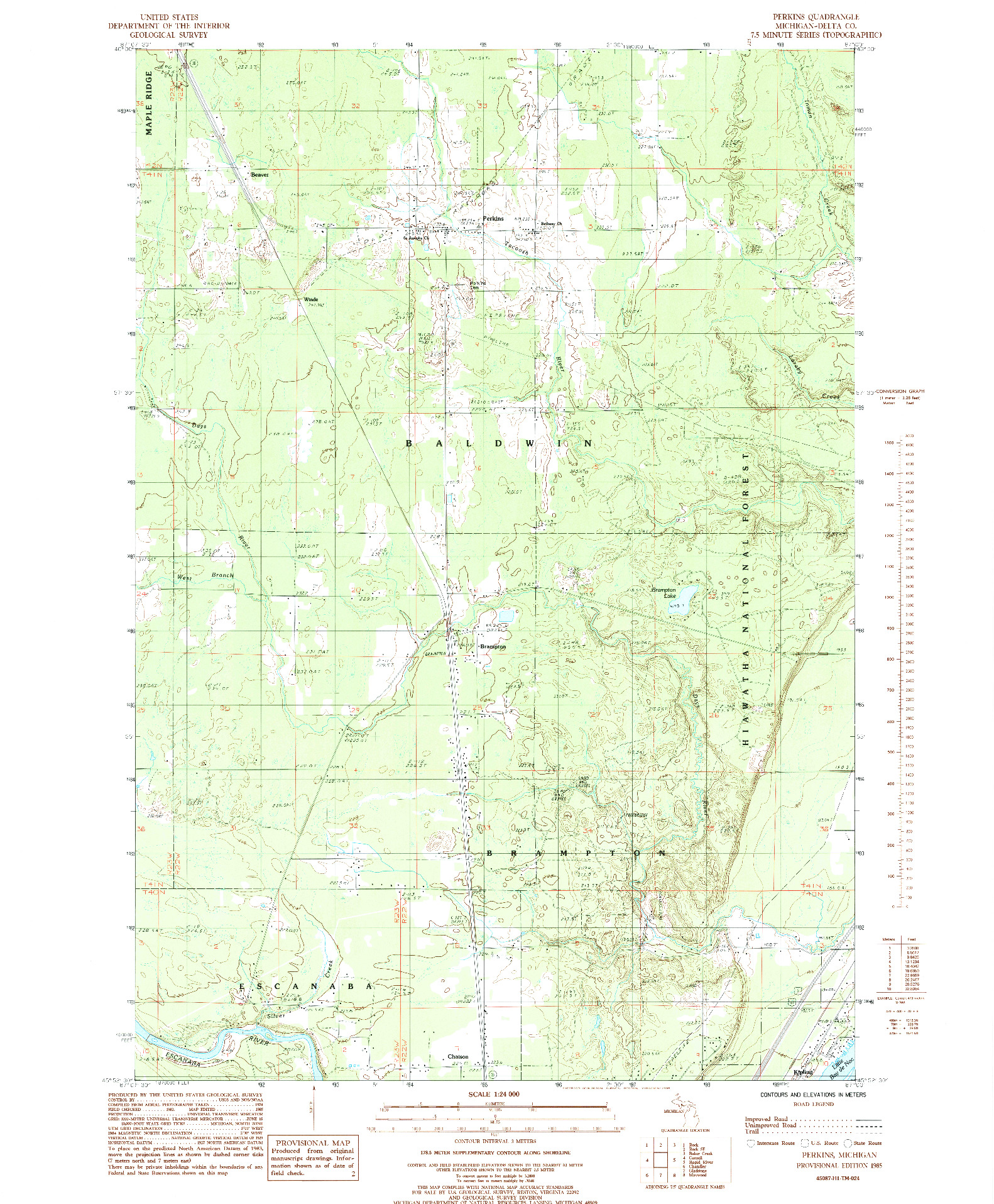 USGS 1:24000-SCALE QUADRANGLE FOR PERKINS, MI 1985